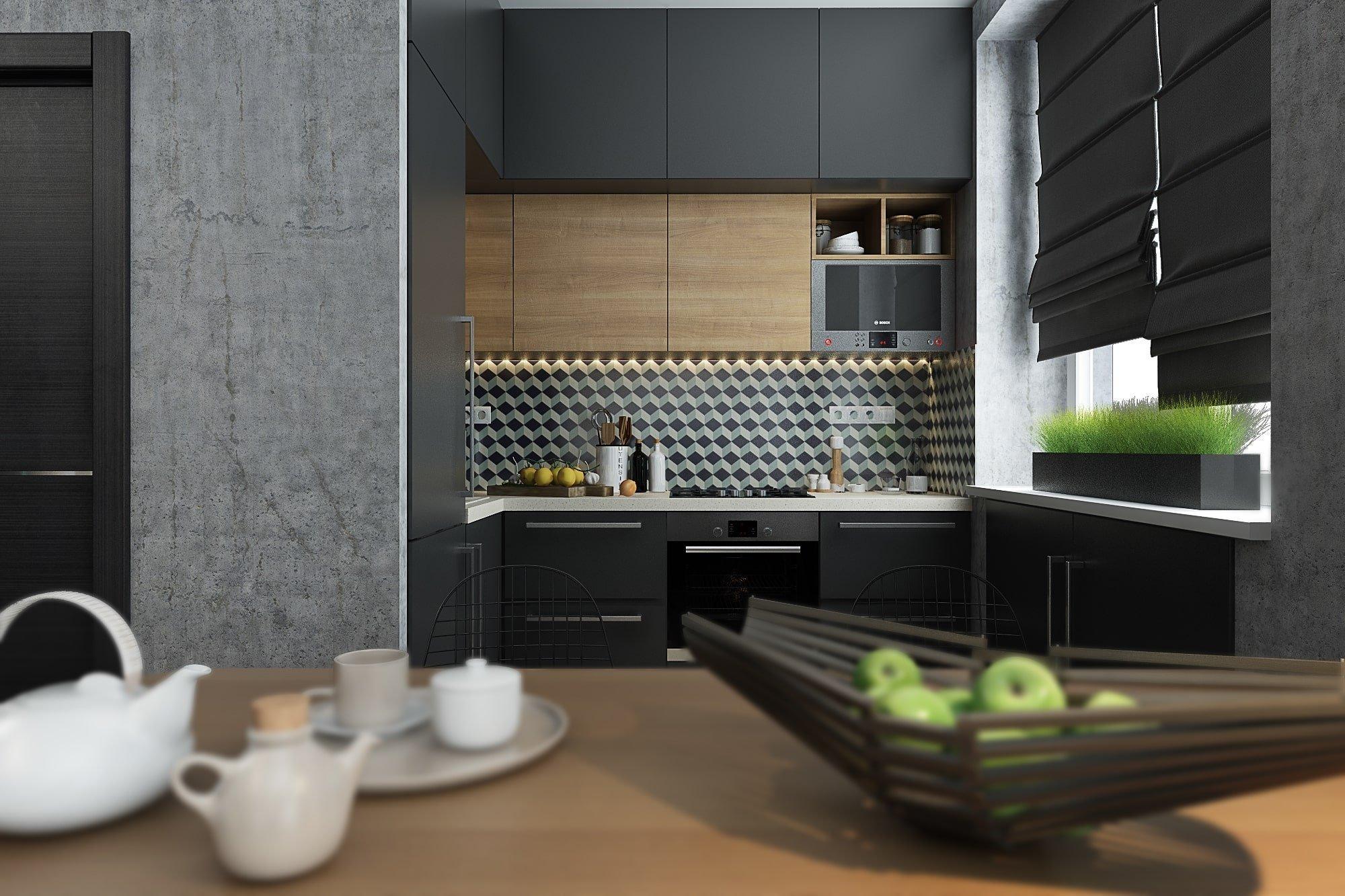 Vysoce moderní a designové bydlení se dá vytvořit i v malém bytě. Příkladem je stylově zařízený interiér ve Volgogradu. Vyvedený v šedých odstínech a s akcenty tmavě tyrkysové barvy působí velmi osobitě a dynamicky.
