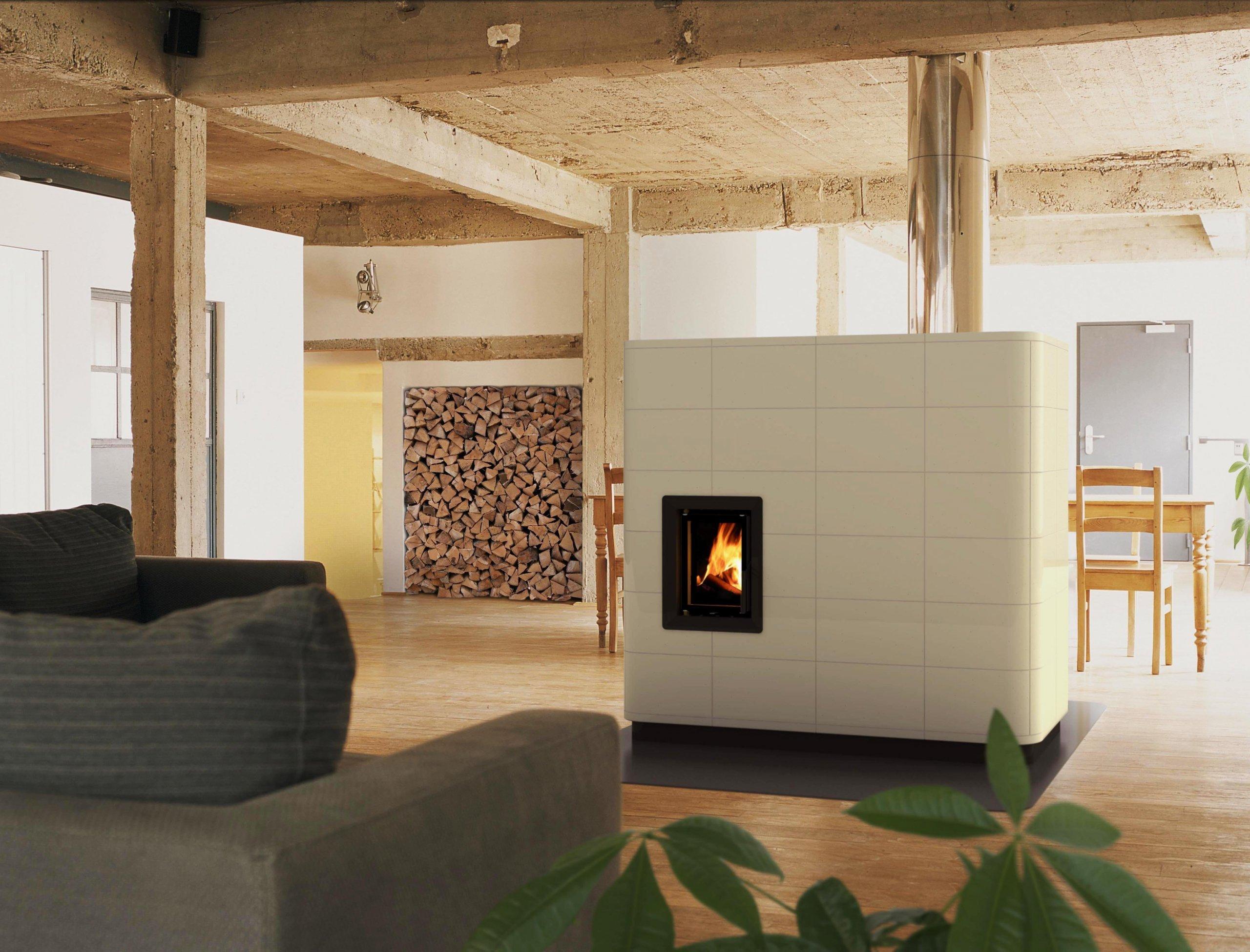 Kachlová kamna DIVA s kombinovanou funkcí sálání + teplovzduch (volitelně i s teplovodním výměníkem)