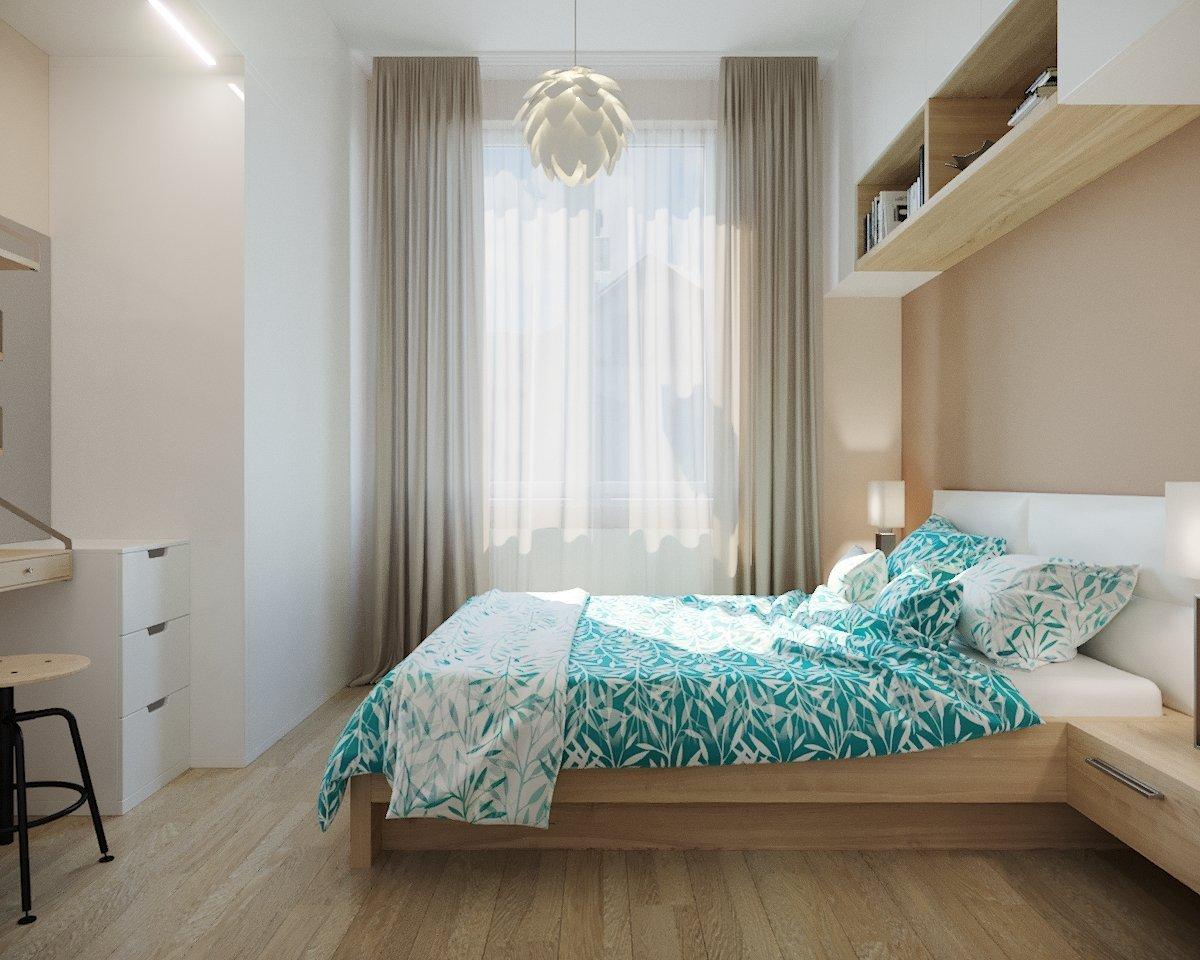 Dobrý a kvalitní spánek, který je nedílnou součástí našeho života, začíná v ložnici. Modrá barva nám vykouzlila dokonalou letní atmosféru. Tento návrh interieru je důkazem, že i ložnice menších rozměrů obsahuje vše, co má ideální ložnice mít.