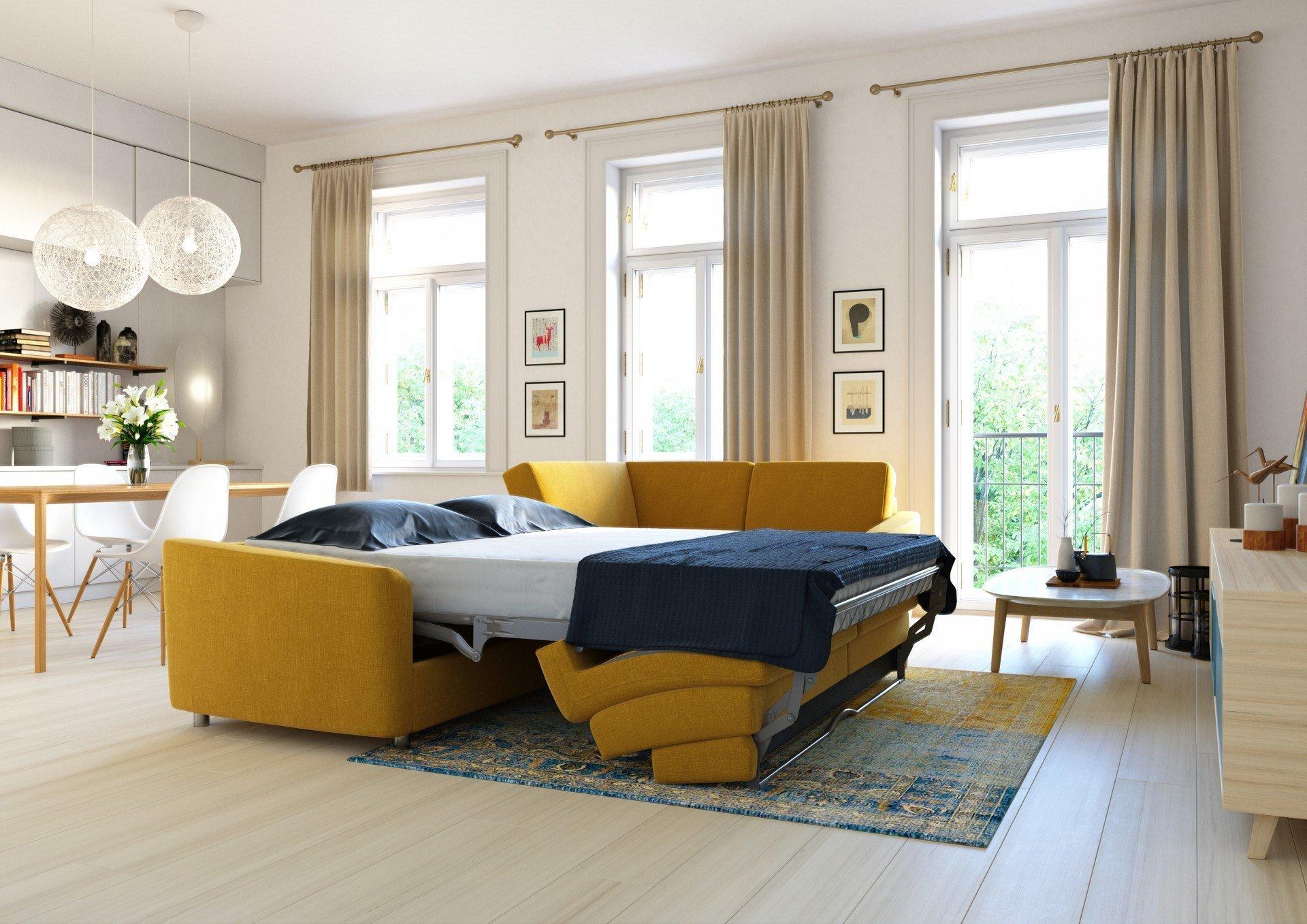 Sedací soupravy s kvalitních rozkládacím mechanismem a matrací jsou dobrým kompromisním řešením do malých bytů
