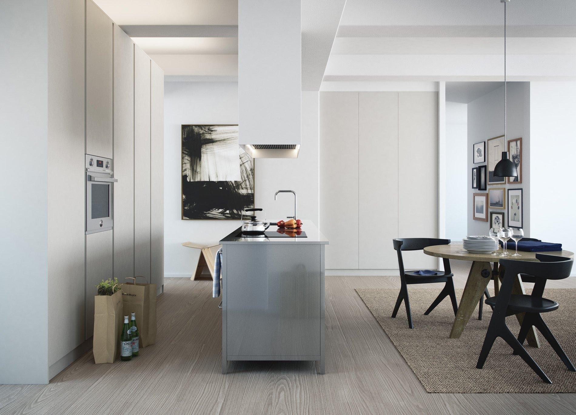 Na nenápadou kuchyň může plynule navázat výraznější obytná zóna.