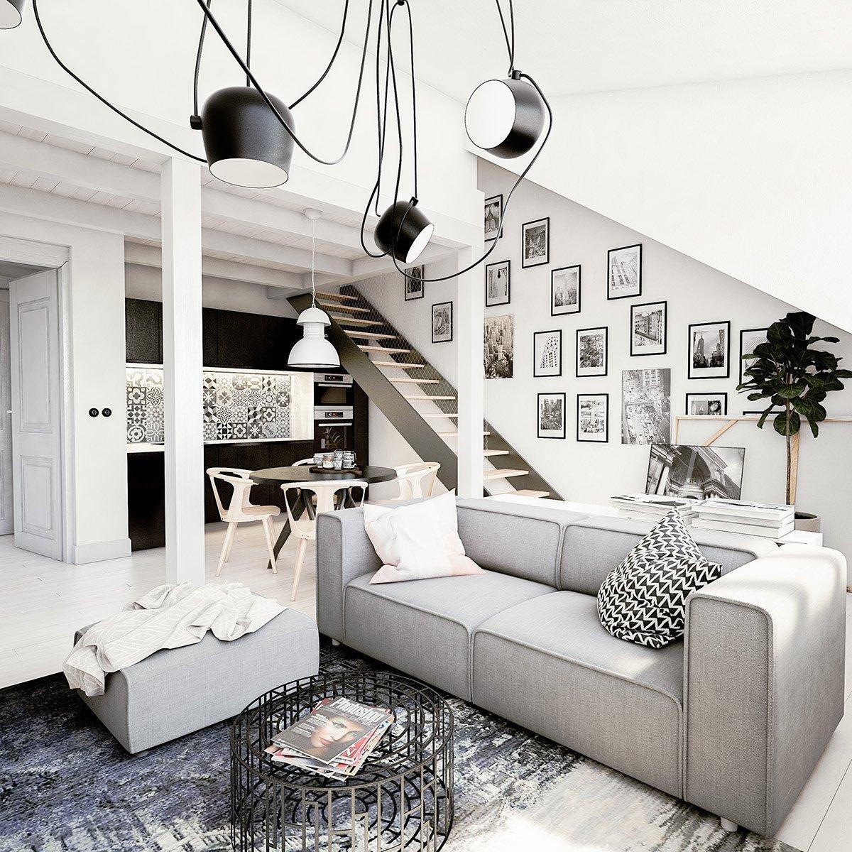 Černobílý interiér je nadčasový.