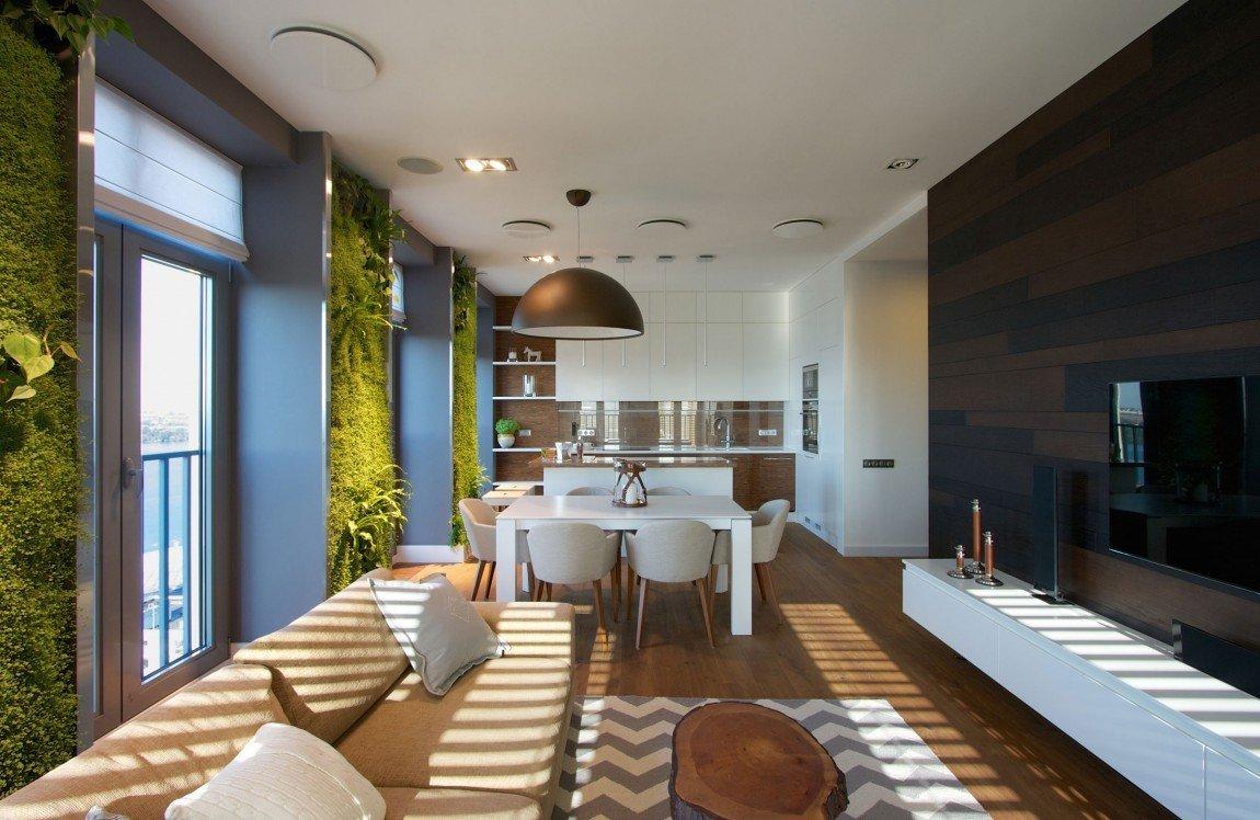 Byt je ergonomicky dobře promyšlen, kuchyň navazuje na jídelní stůl a obývací pokoj.