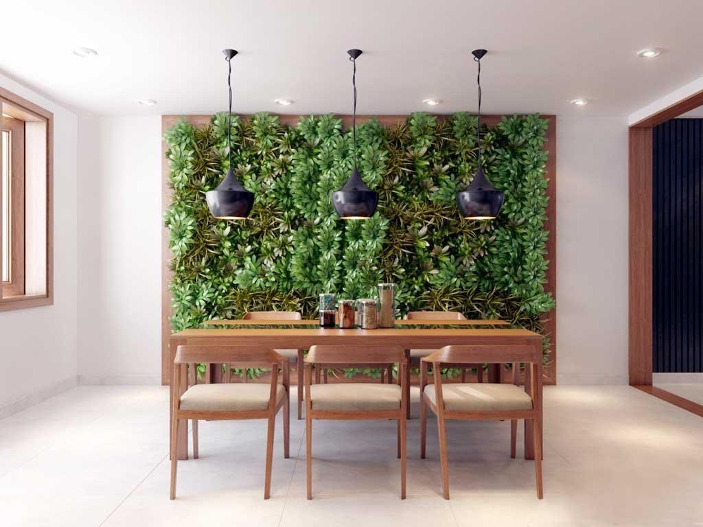 Zelená stěna pomáhá zlepšovat kvalitu vzduchu.