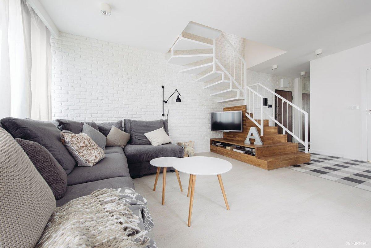Interiér je proveden vr skandinávském stylu.
