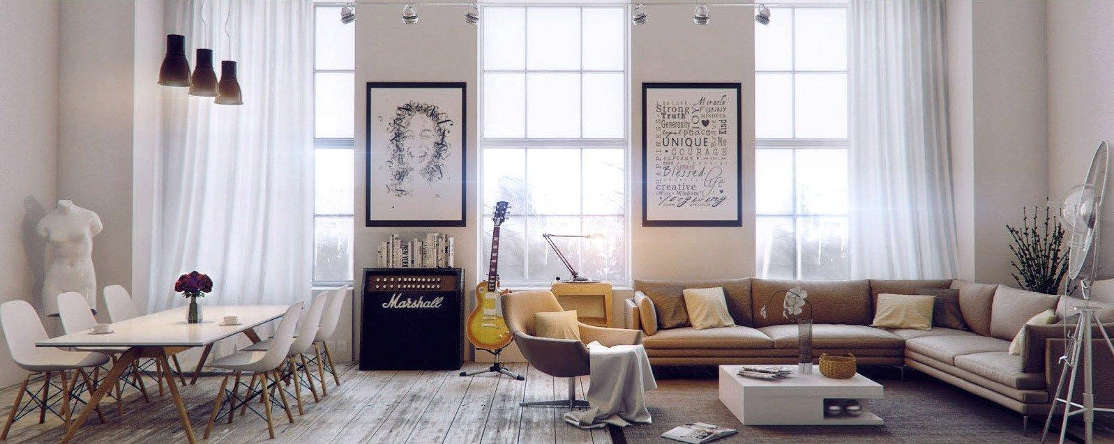 Dobře uspořádaný pokoj s vkusnými doplňky a vzdušnými závěsy - tento domov vás bude bavit.