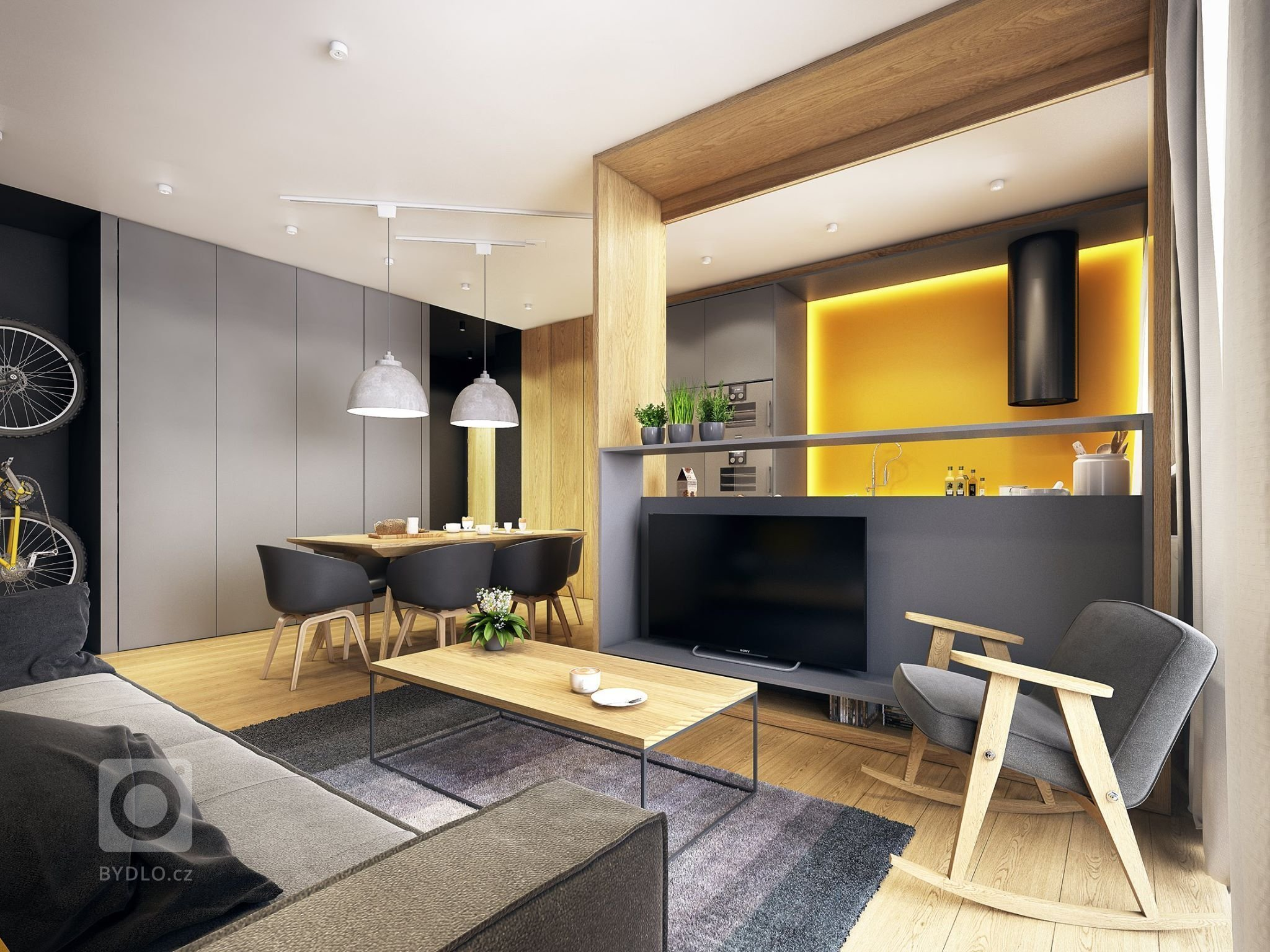 Dokonale nadčasový interiér s módní žlutou barvou pro oživení.