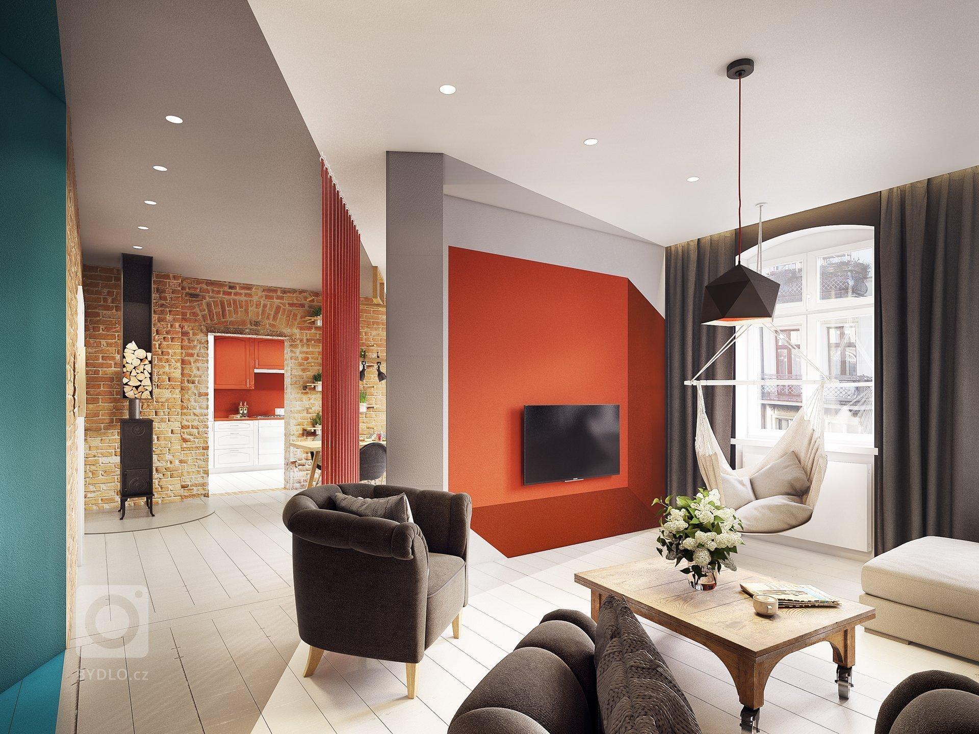 Nápaditý interiér doplněný cihlovou a tyrkysovou barvou vás nadchne.