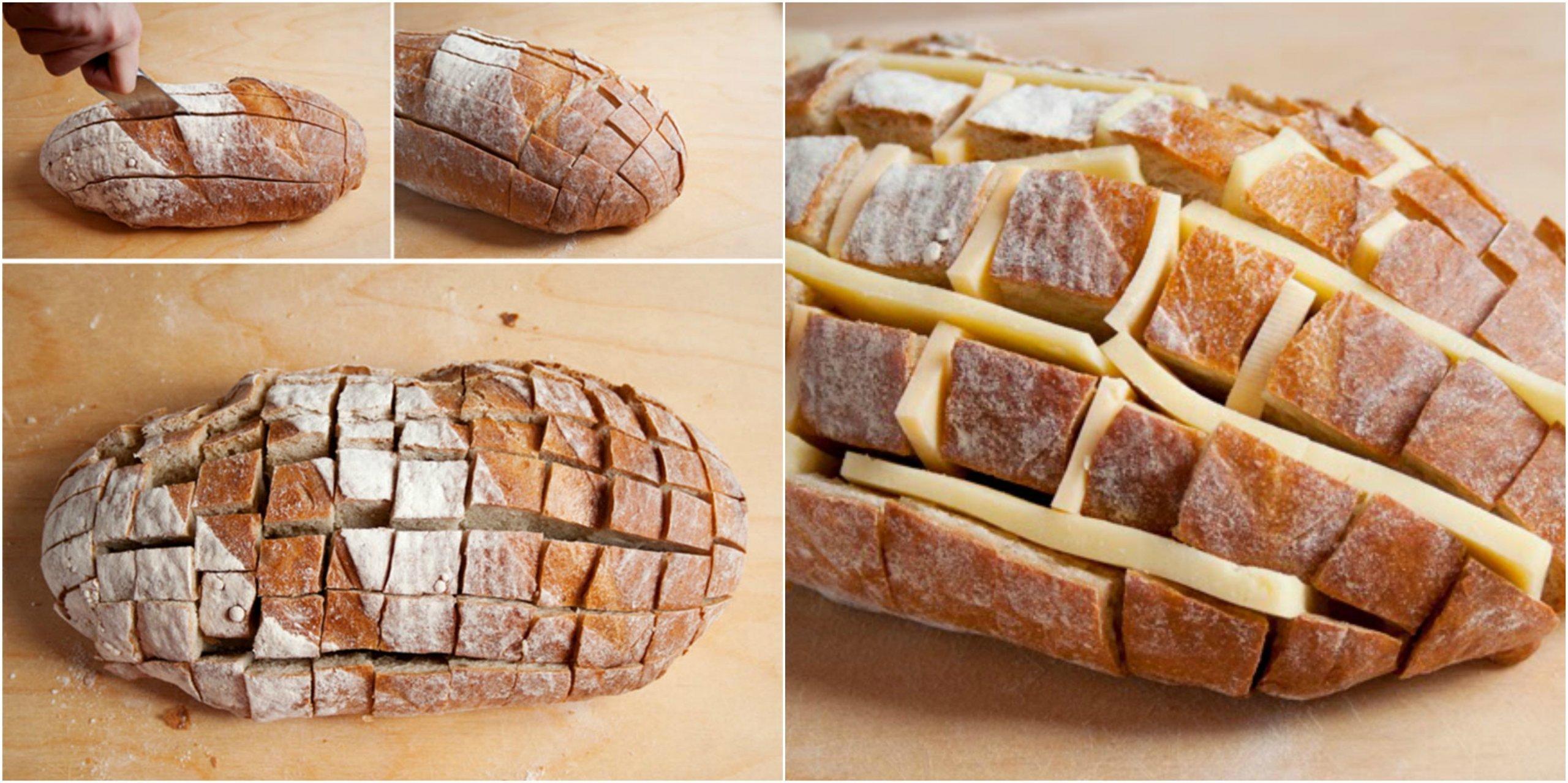 Trhací chléb s rozpečeným sýrem a jarní cibulkou