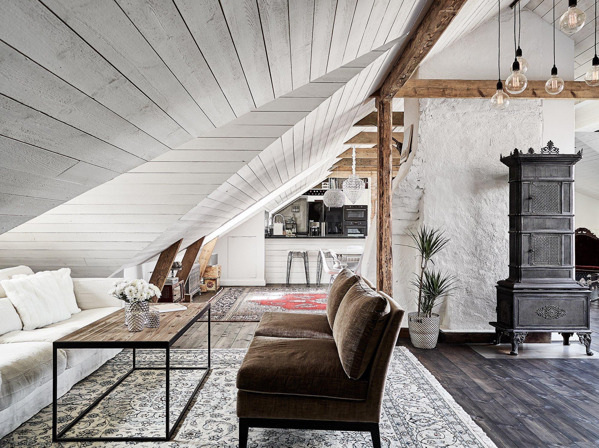 Skandinávský interiér v podkroví
