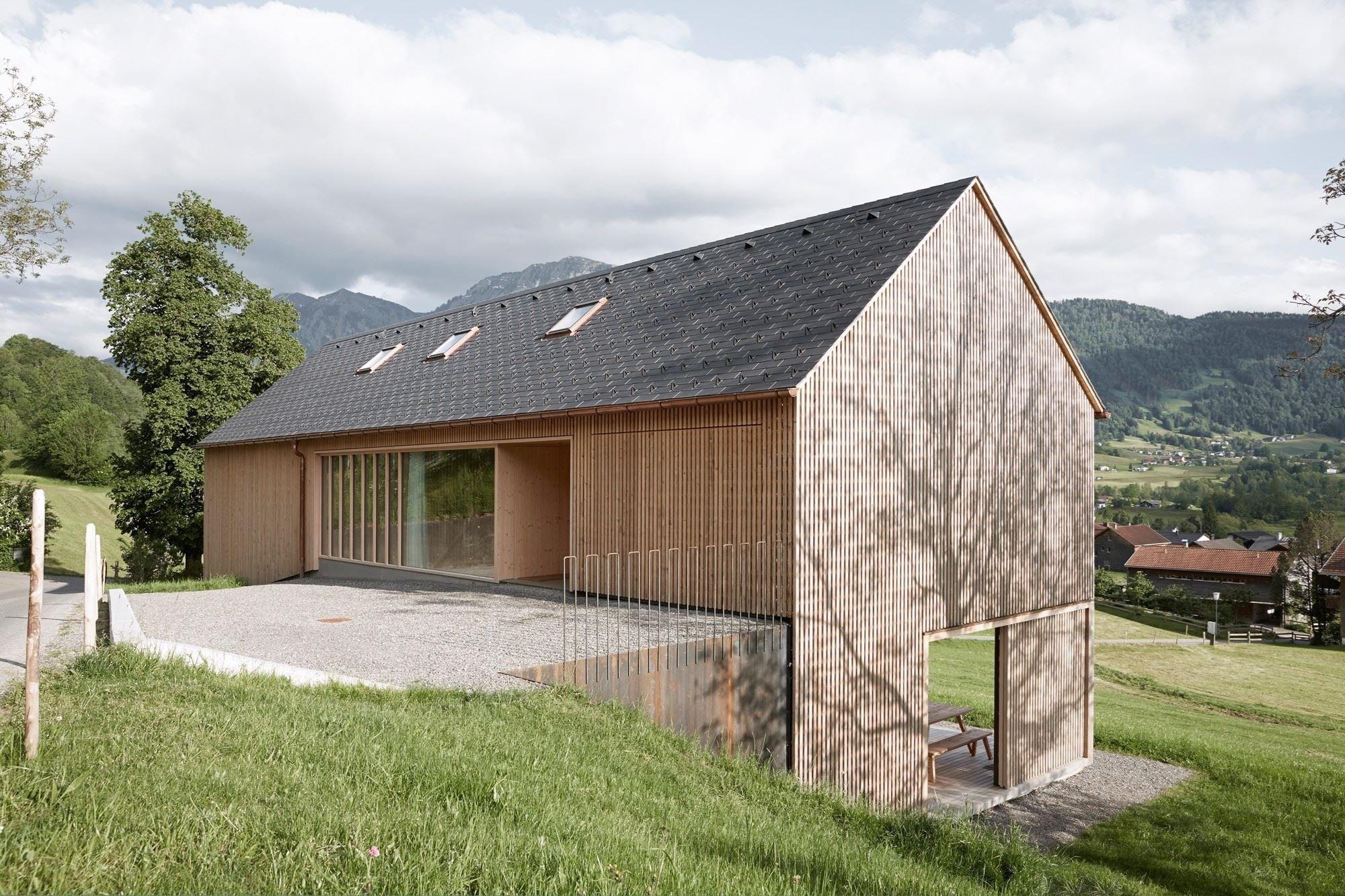 Dřevostavba v rakouských horách
