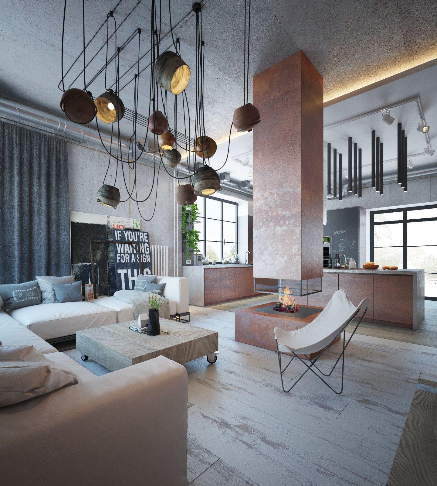 Velké otevřené prostory, vysoké stropy, ale i chladné barvy. Tohle všechno jsou typické znaky industriálního stylu bydlení, který je v posledních letech tolik oblíbený. Na této vizualizaci se spolu podíváme na to, jak lze tento styl skloubit s použitím teplých tónů tak, aby celý interiér působil útulněji.