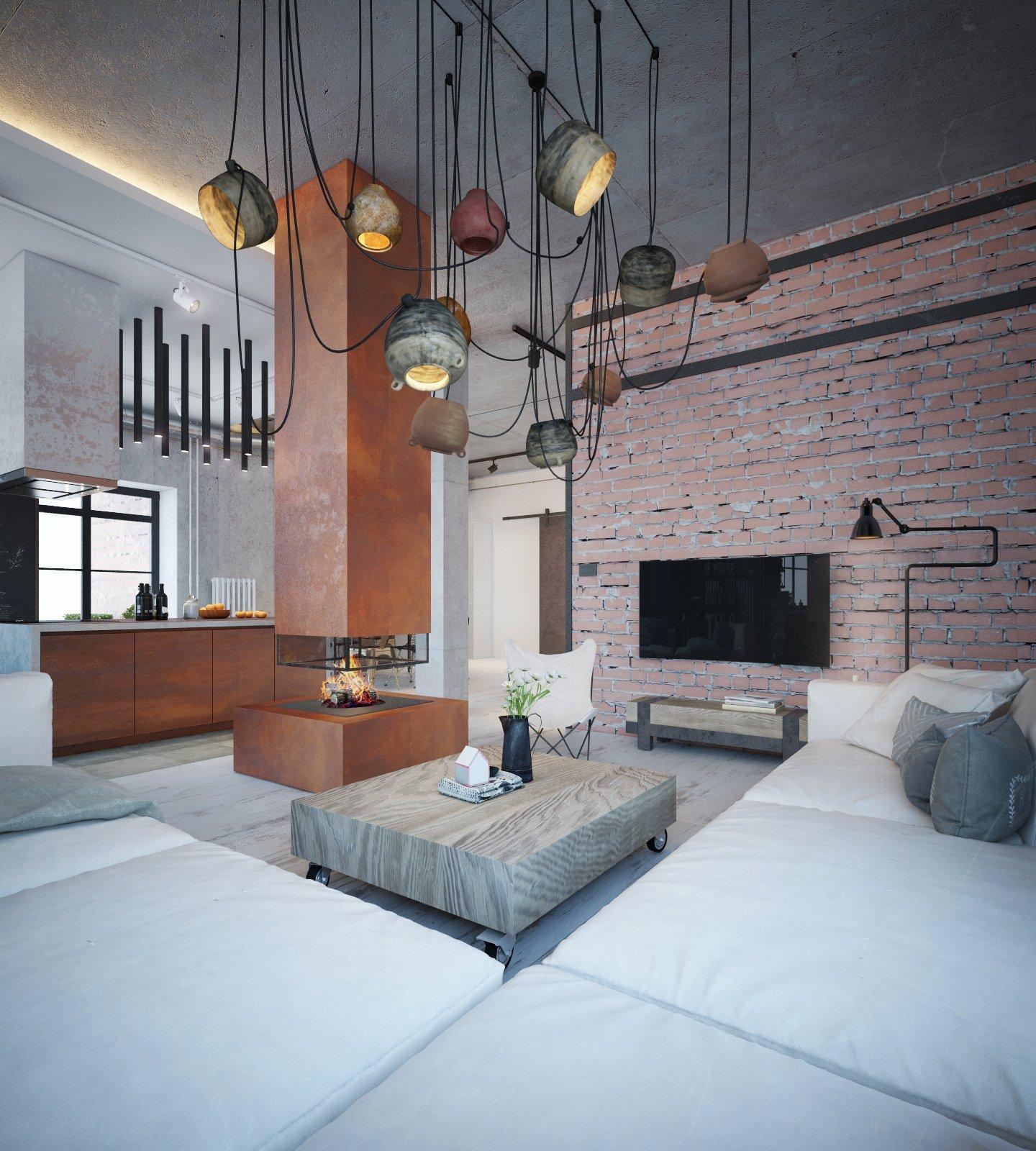 Industriální bydlení s teplými tóny v Minsku