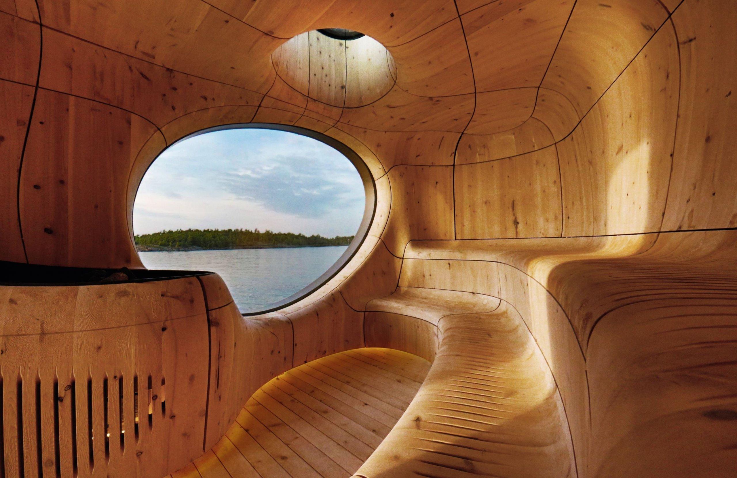 Netradiční sauna s výhledem na jezero
