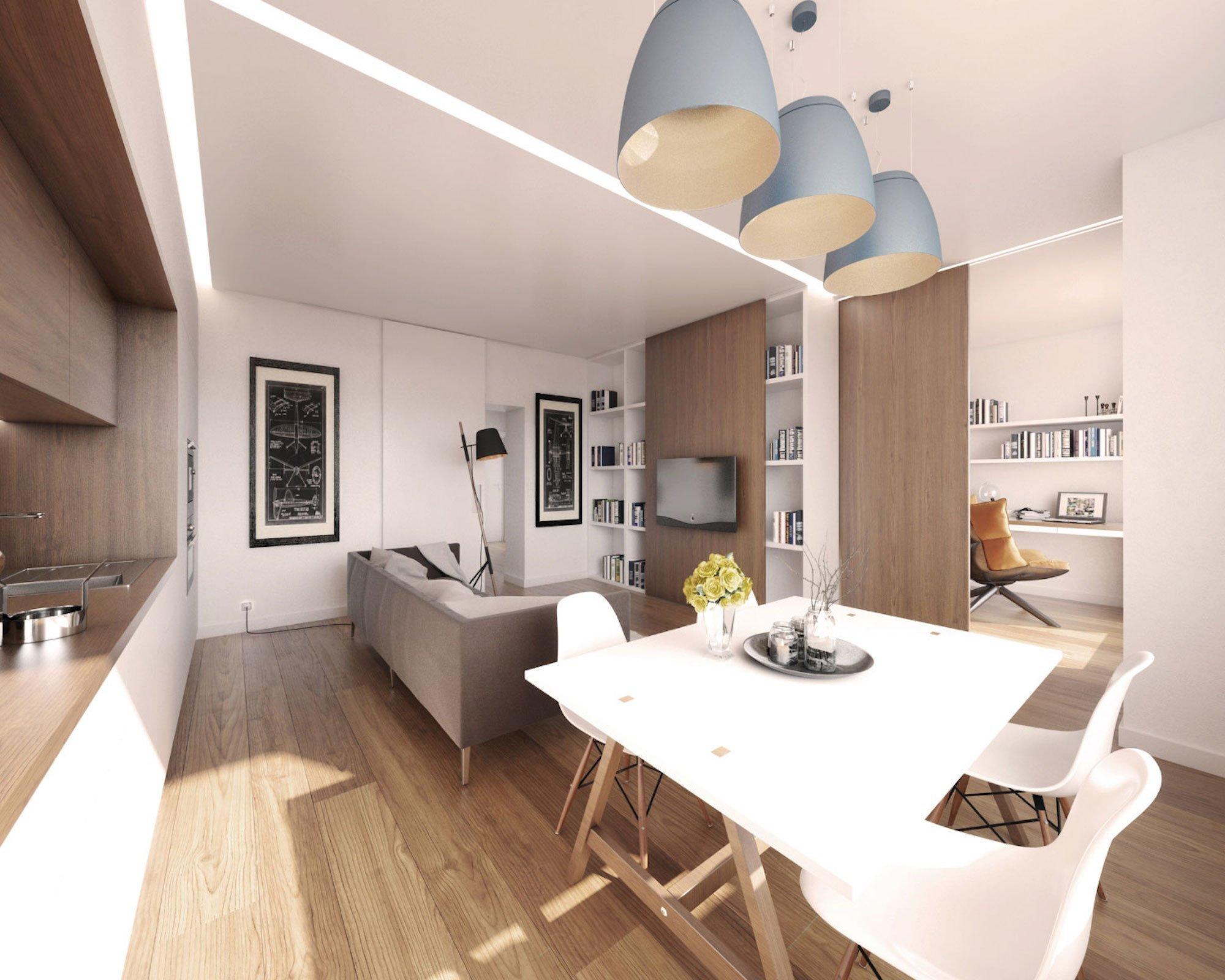 Vizualizace: ložnice je s obývacím pokojem spojena širokým průchodem s posuvným panelem. Na posuvném panelu je i televize - Vizualizace Boq architekti