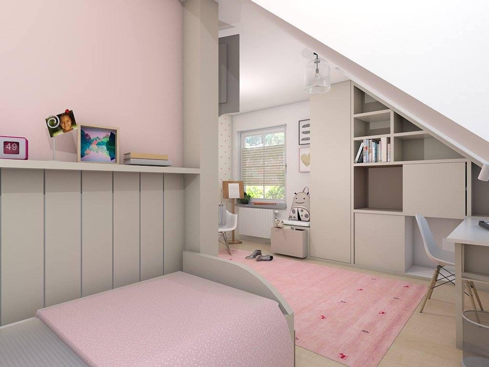 Návrh dětského pokoje pro děvče počítá s nábytkem na zakázku. Byl tak ideálně využit prostor se zkoseným stropem a bylo možné vyhovět požadavku na světlé barvy v interiéru - Vizualizace: Beladesign