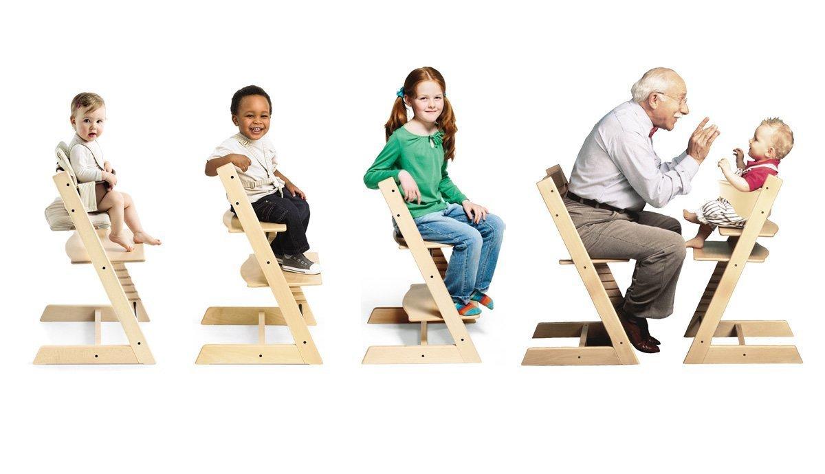 Židle Stokke Tripp Trapp s nastavitelným sedadlem a stupínkem pro batolata, děti i dospělé