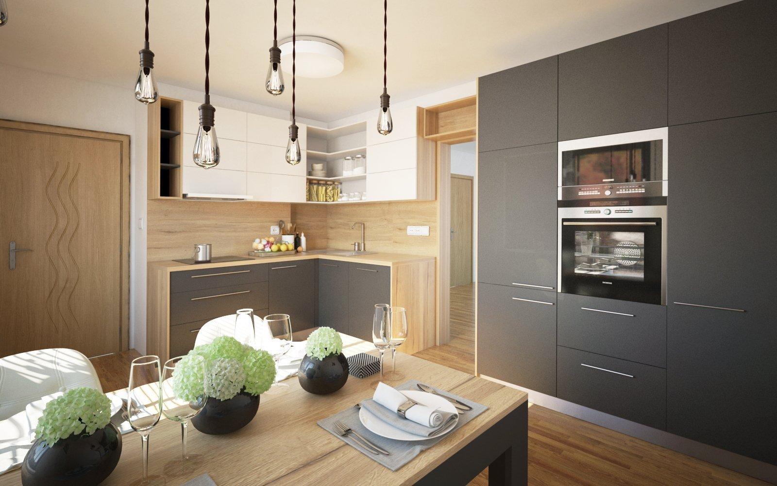 Do rekonstruovaného bytu pro mladý pár, jsme navrhovali kuchyňskou linku v moderním stylu.