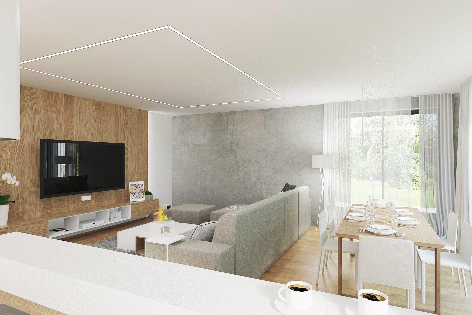 Interier obývacího pokoje v Rd Brusné vychází z barevnosti dubového dřeva, ke kterému je nakombinována šedá a bílá barva. Budoucí majitelé si mohou interier…