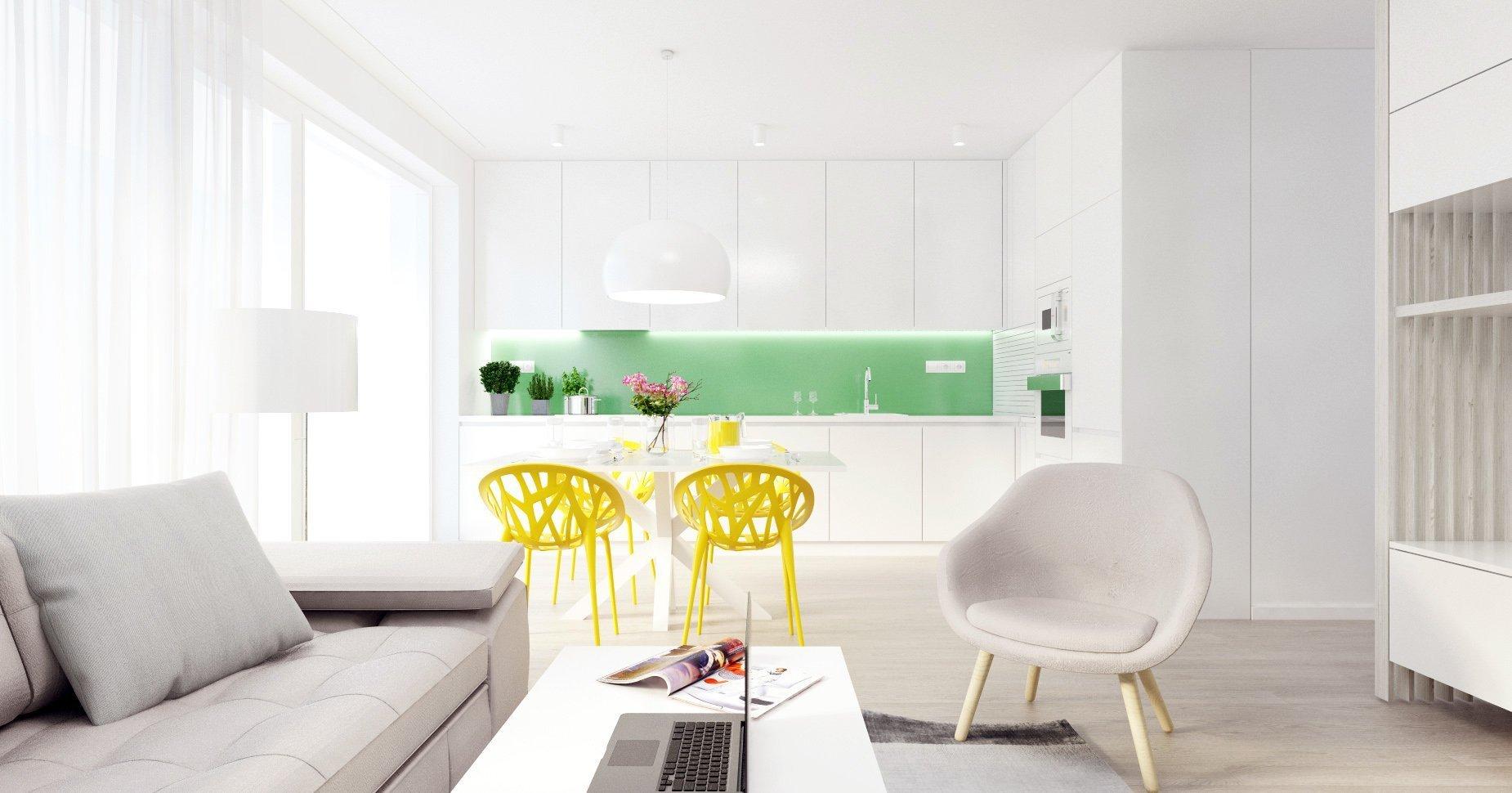 Svieži, dynamický a hravý - taký je tento interiér bytu v projekte Bory Bývanie. 4-izbový byt s výbornou dispozíciou je charakteristický spojenou dennou zónou…