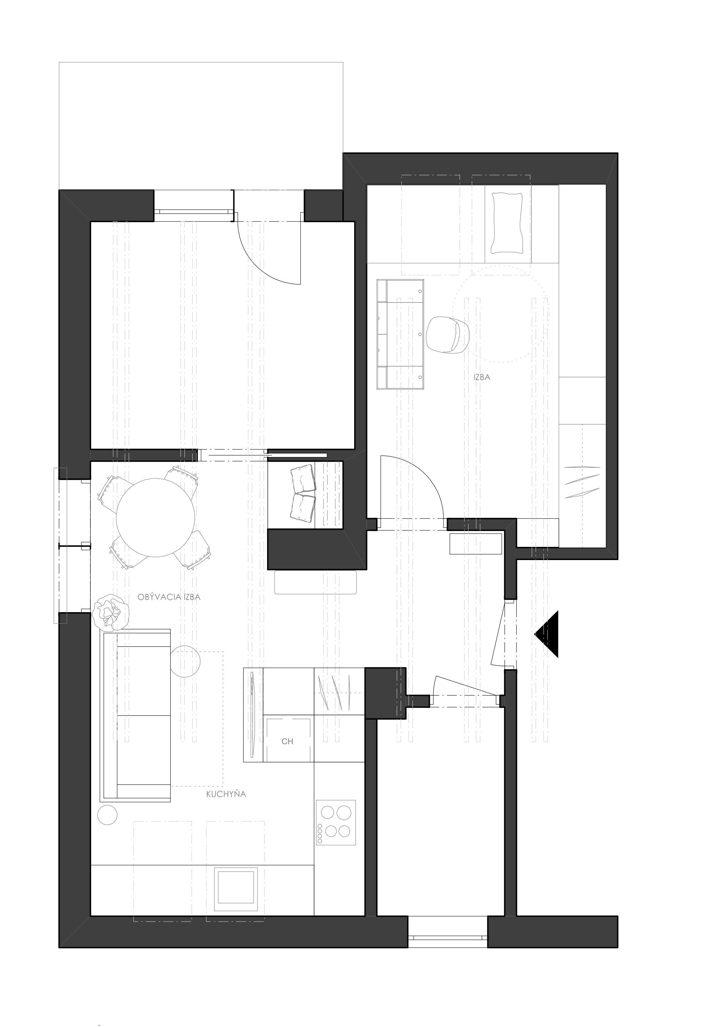 Návrh interiéru podkrovného bytu využíva relatívne malý priestor dennej zóny na maximum, pričom ho opticky neprepĺňa. Líniová hmota kuchyne plynulo prechádza…