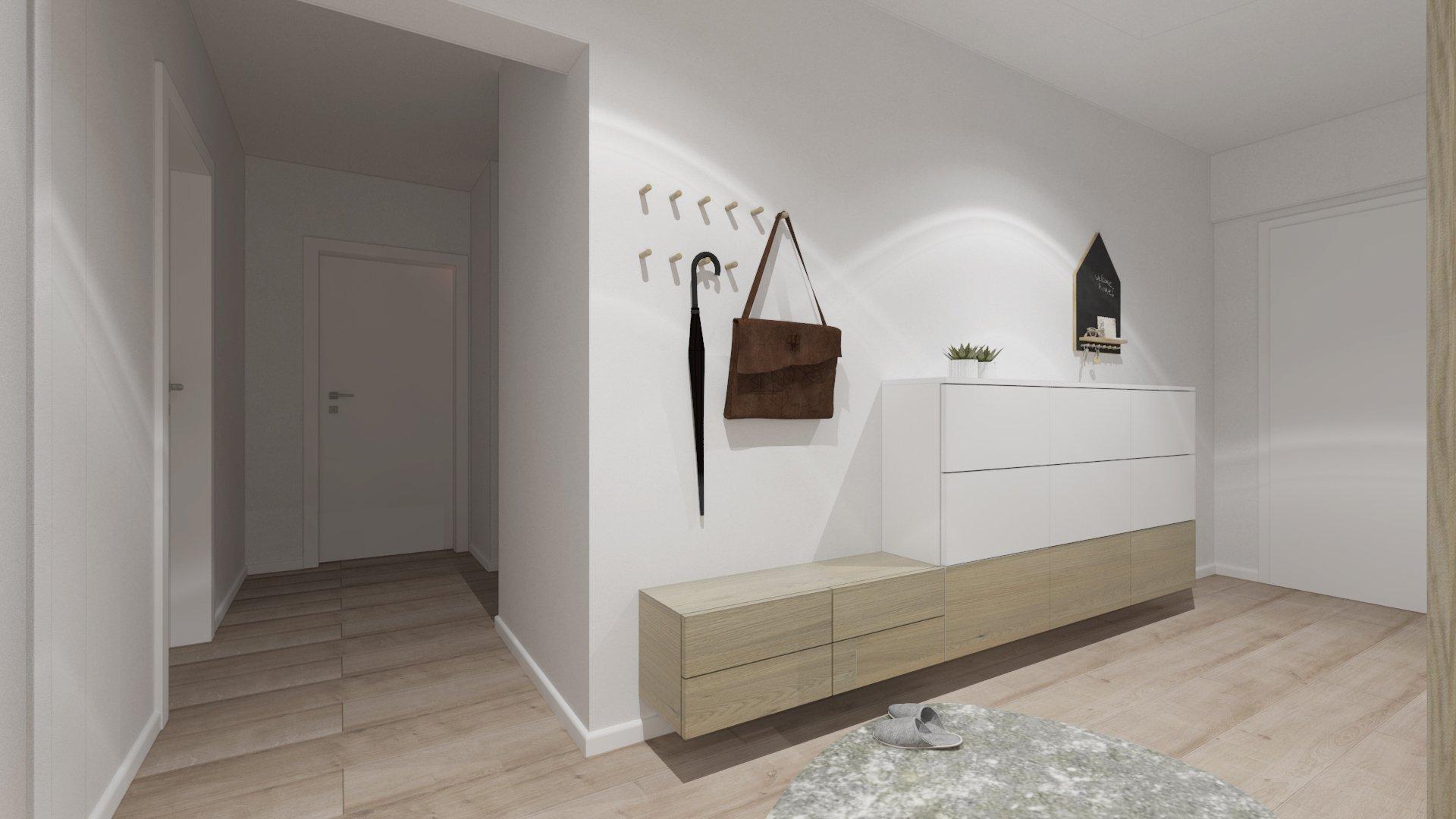 Interiér bytu sa nesie v neutrálnych farebných odtieňoch. V kuchyni sme vytvorili ostrov s dostatočnou pracovnou plochou a barovým sedením, na ktorý plynulo…