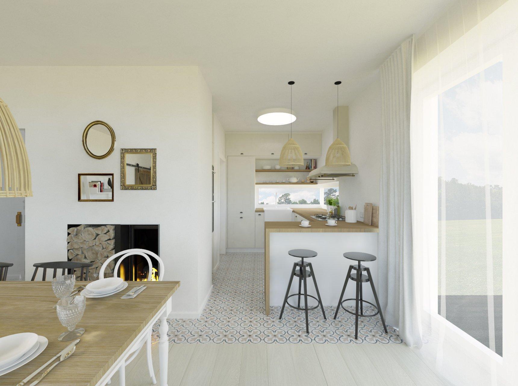 Interiér prízemia novostavby s nádychom provensálskeho štýlu. Biela kuchynská linka s masívnou drevenou pracovnou doskou je doplnená o dizajnový digestor a…