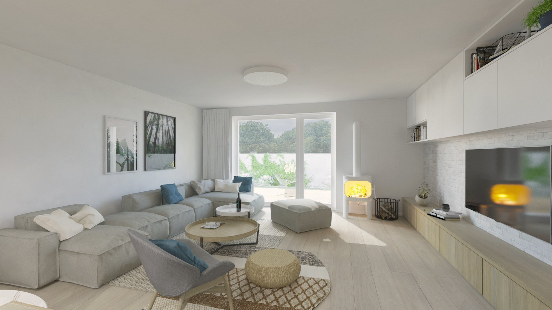 Útulnú atmosféru v interiéri sme dosiahli kombináciou bieleho nábytku s akcentmi dreva, sivej, čiernej a na oživenie interiéru sme použili modrú farbu.  …