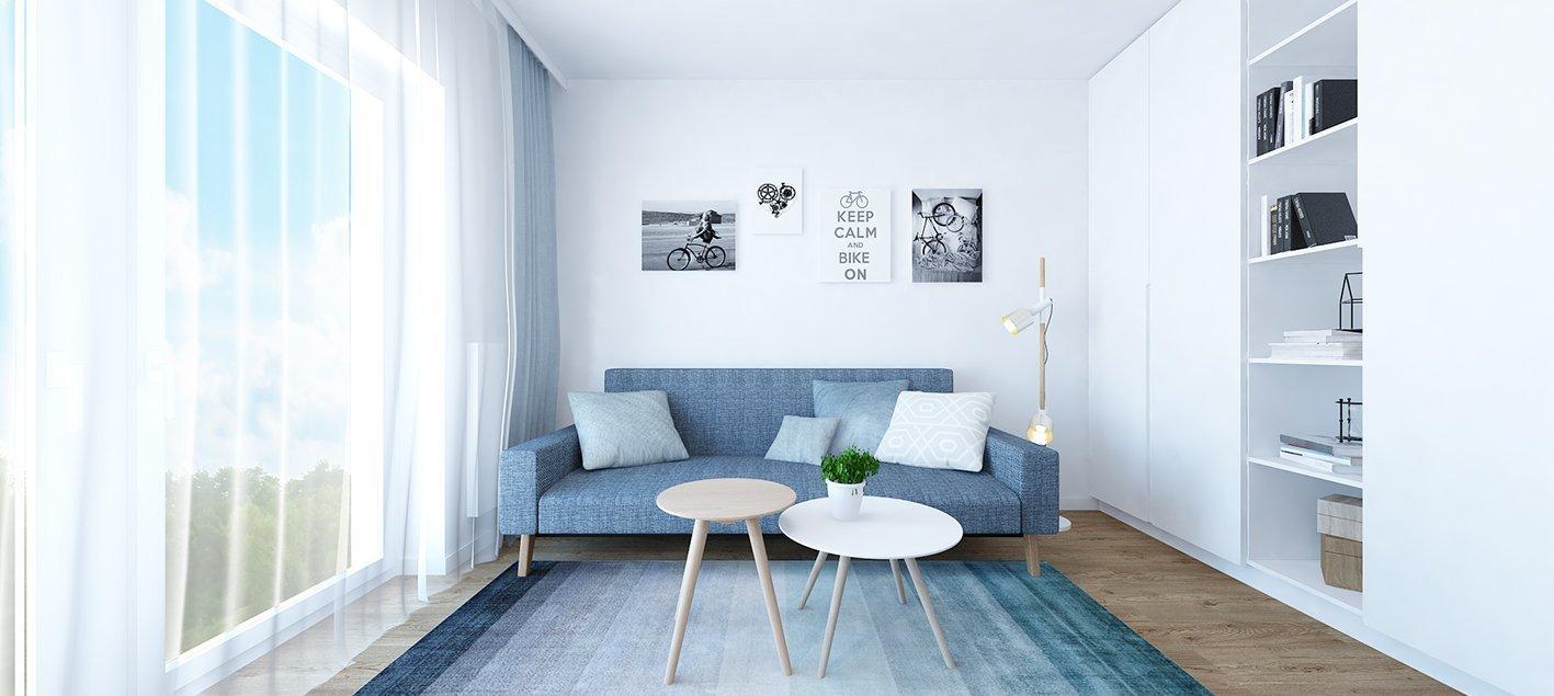 Projekt bytu Pri Mýte je charakteristický doplnkami a akcentami v modrej farbe.
