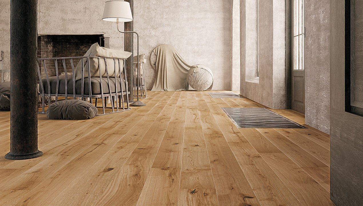 Dubová podlaha s 2x frézovanými hranami potažená bezbarvým přírodním olejemv interiérurodinného domu v Praze.