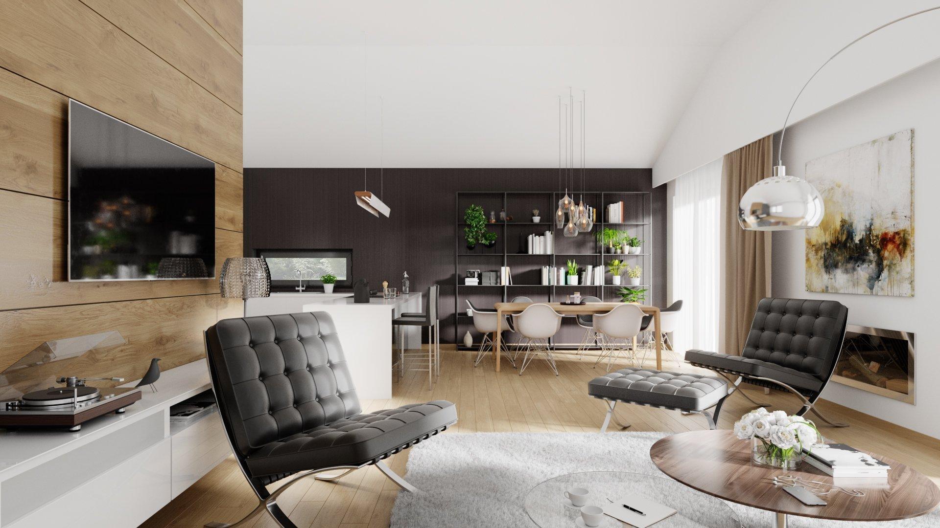 Predmetom návrhu bol interiérový priestor kuchyne s jedálenským kútom a obývacou izbou tvoriaci dennú zónu bytu. Hlavným použitým interiérovým prvkom je drevo.…