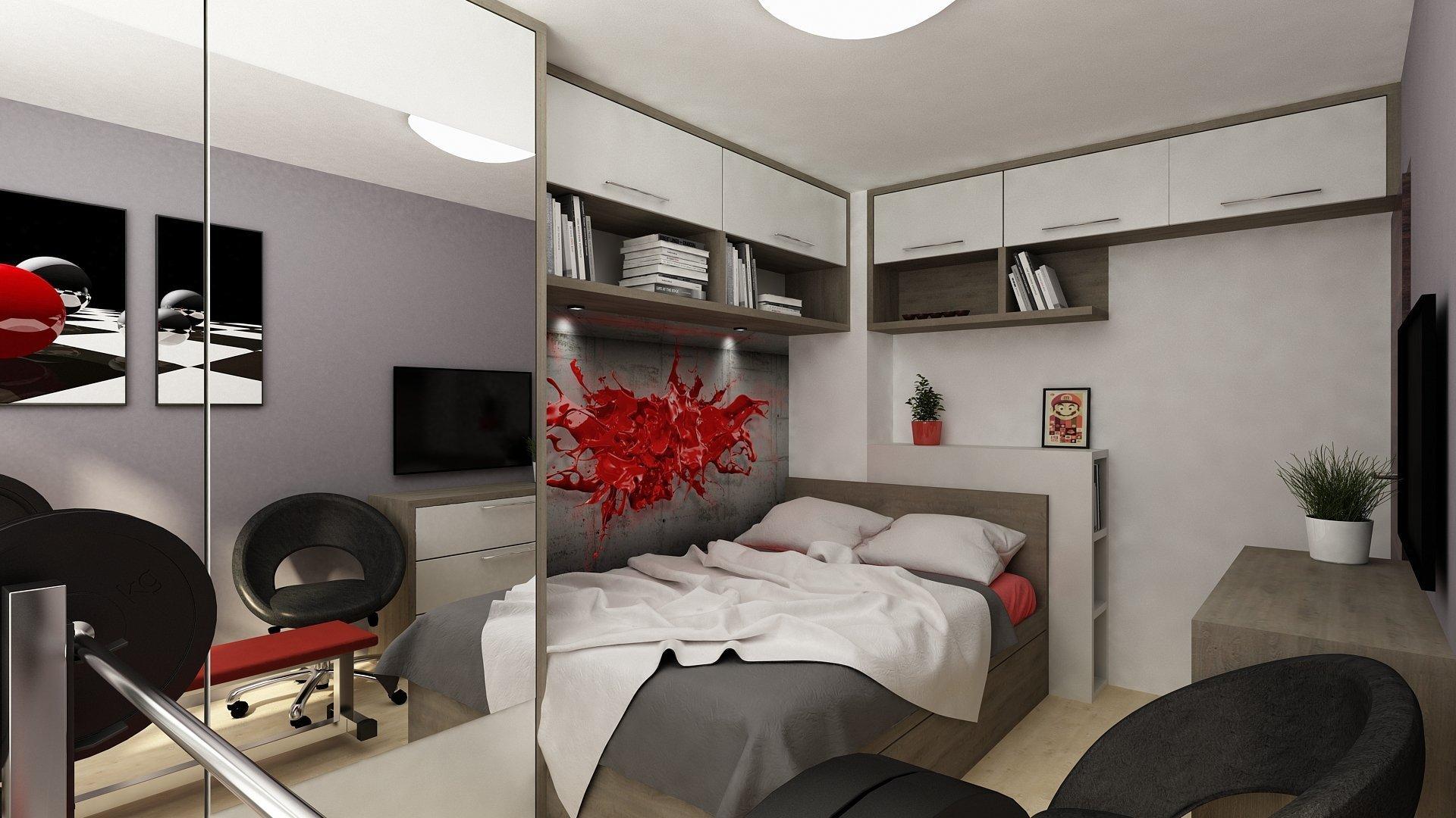 Studentský pokoj s postelí a úložným prostorem. Noční stolek je řešen jako peřiňák a poličky po stranách. Pro zvětšení prostoru je na skříni použito zrcadlo.