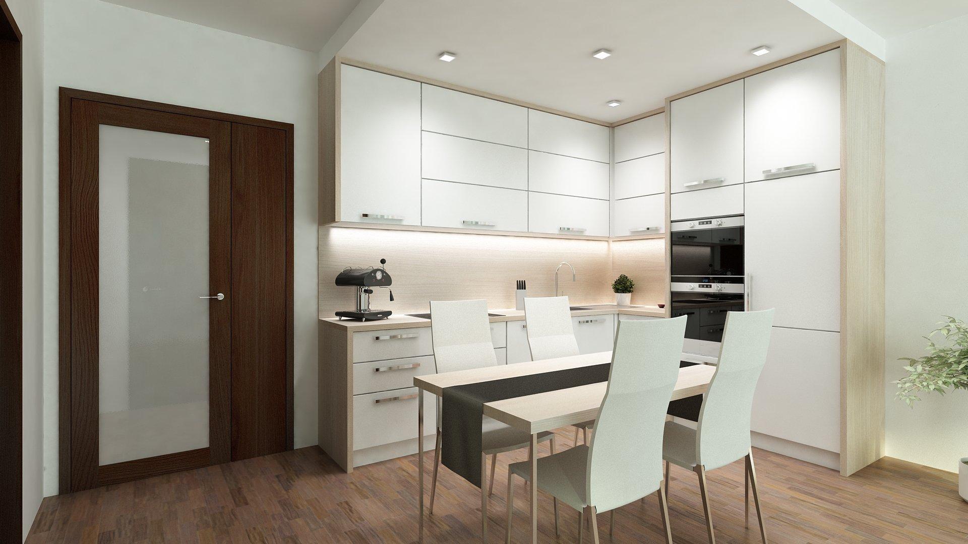 """Moderní bílá kuchyně do tvaru """"L"""" s kontrastní pracovní deskou, korpusy a zádovou deskou ve světlém dřevě."""