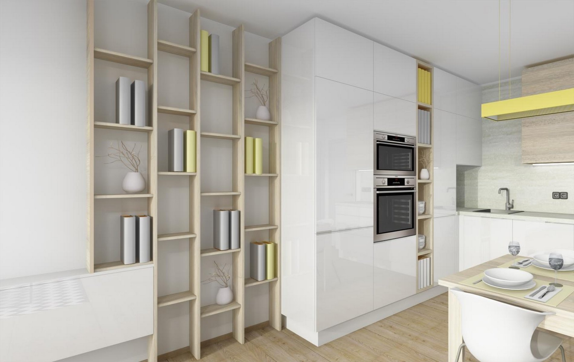 Kuchyňská linka spojená s obývacím pokojem v novostavbě o dispozici 2+kk. Kombinace bílého laku a dřeviny v podob dubu chamoniex.
