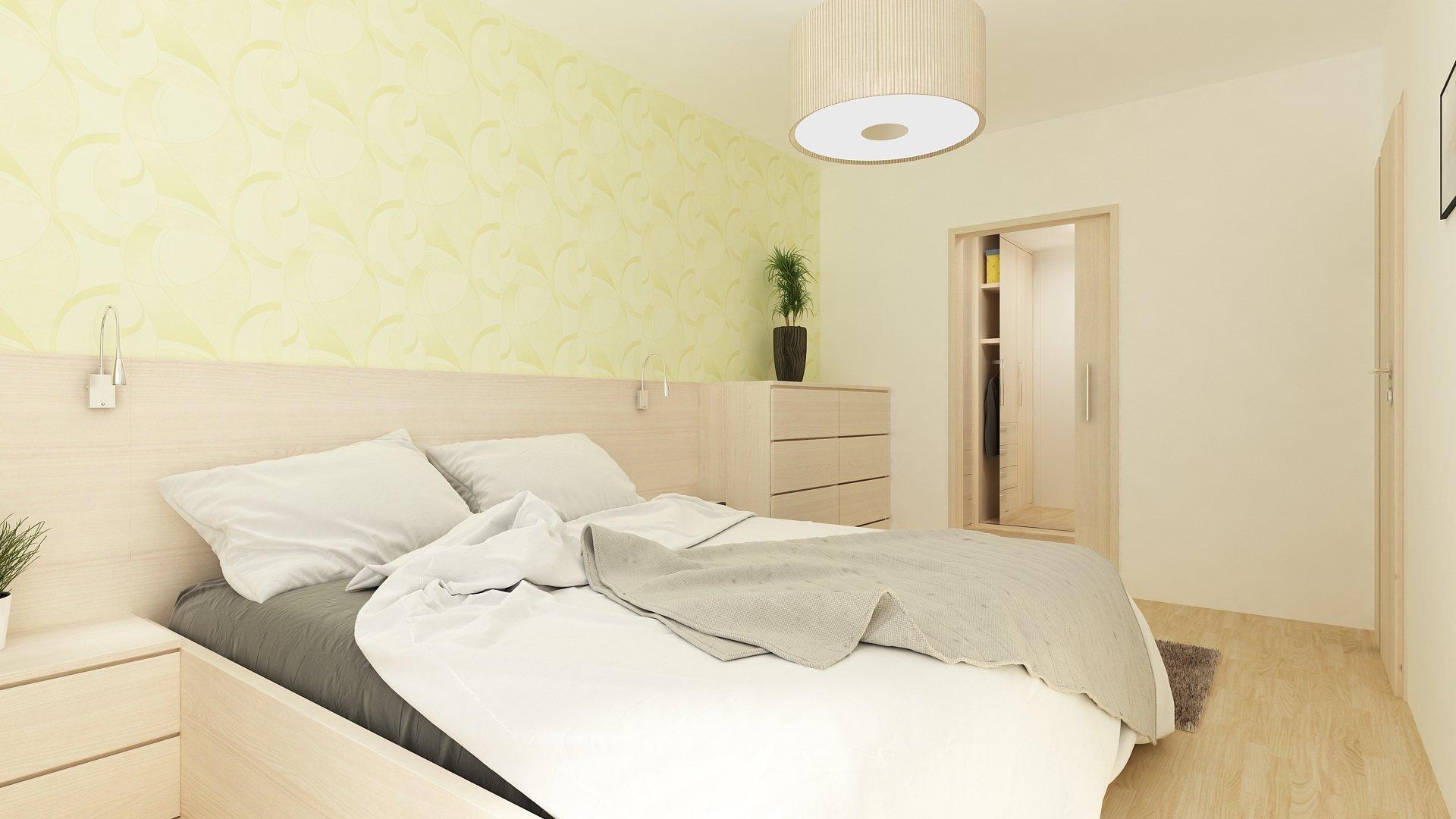Jednoduchá moderní ložnice s šatnou. Postel s vysokým čele,  a komoda.