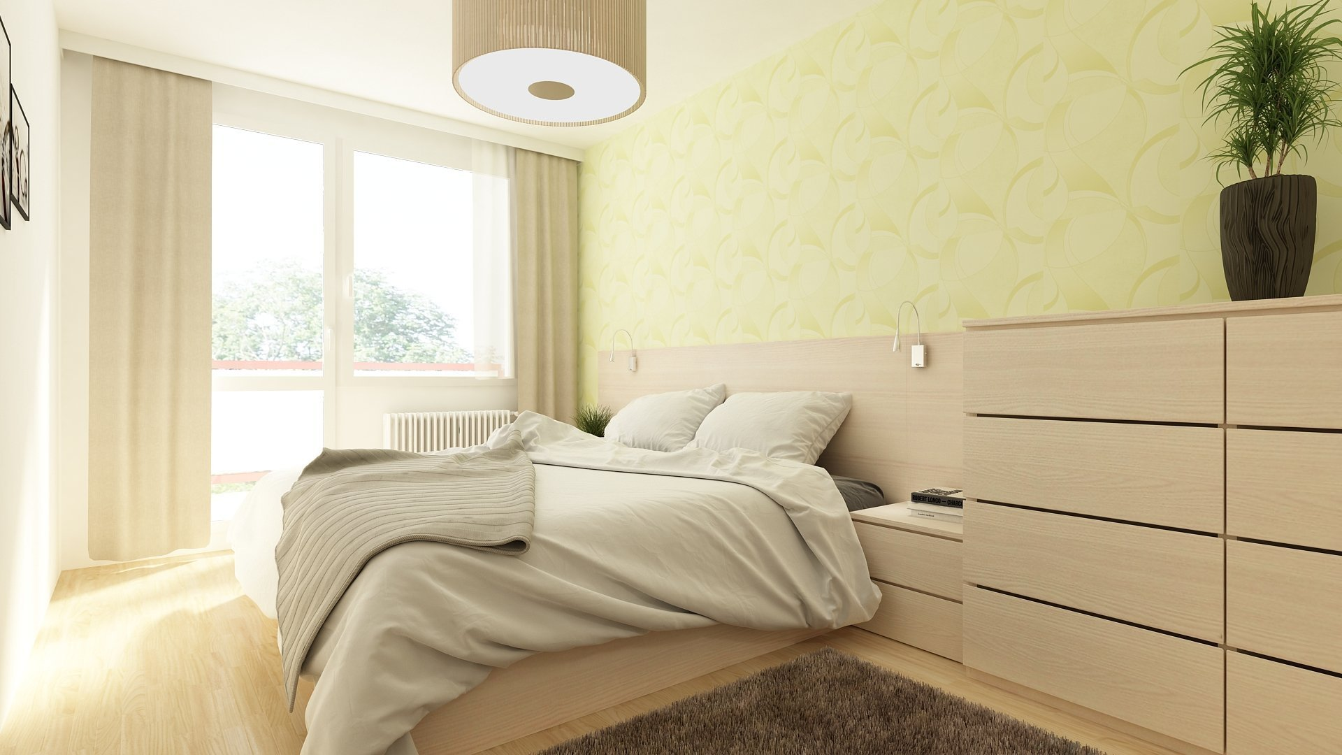Jednoduchá moderní ložnice s šatnou.