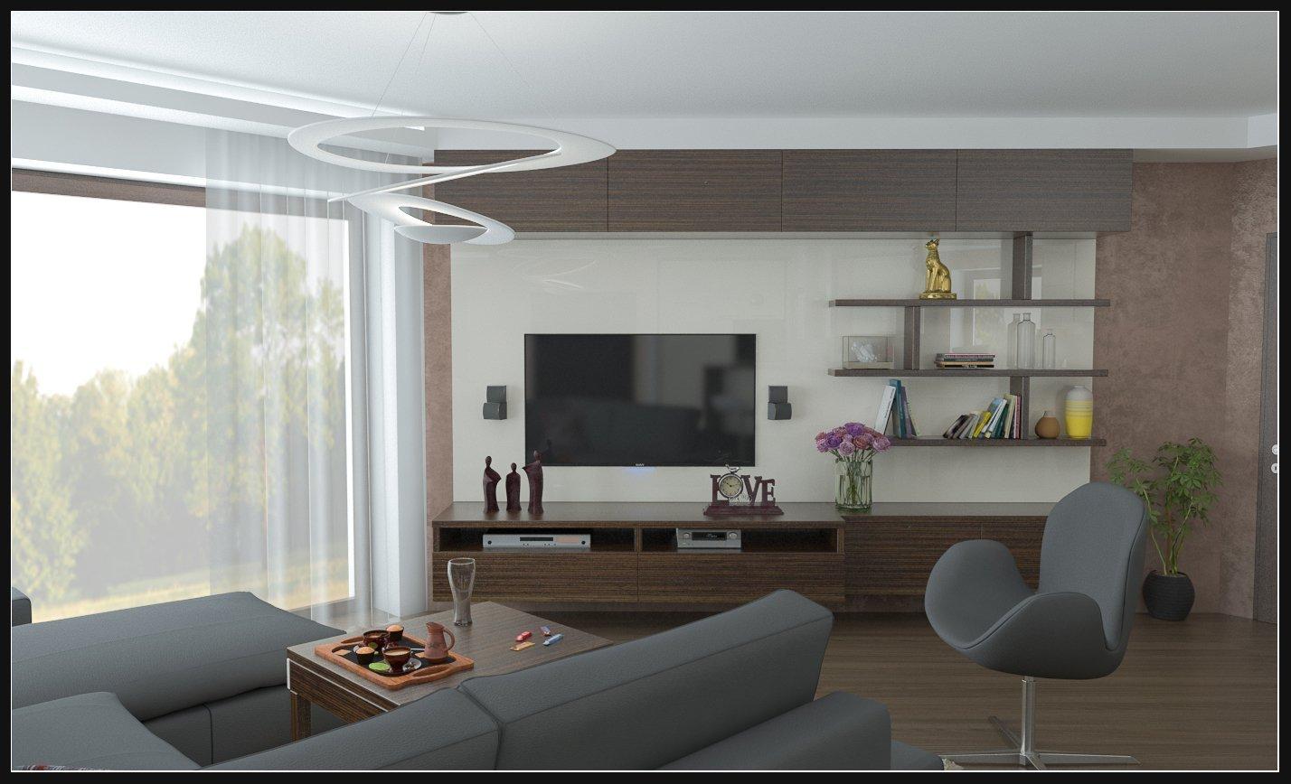 TV stěna s atypickou knihovnou a hnědou stěrkou.