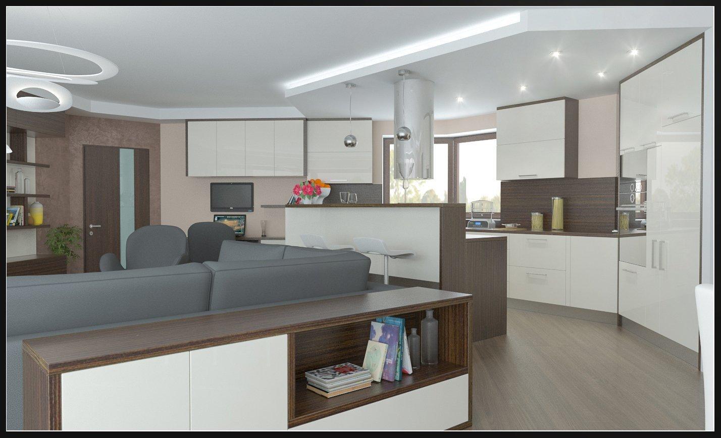 Obývací pokoj v rodinném domě, s atypickou kuchyní do U a pracovnou.