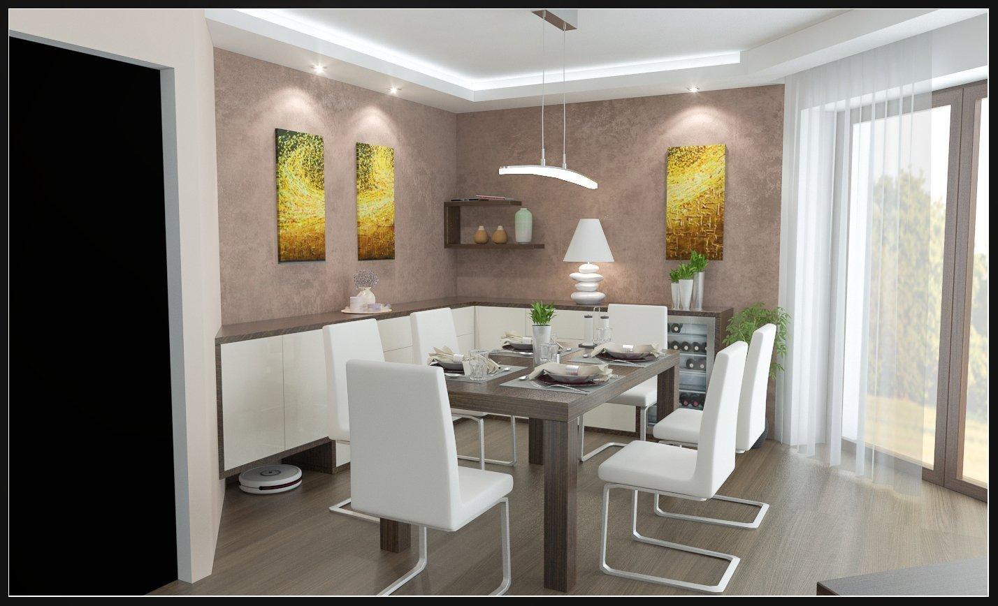 Jídelna s velkým dřevěným stolem, moderními židlemi, vinotékou a komodou. Doplněné hnědou stěrkou.