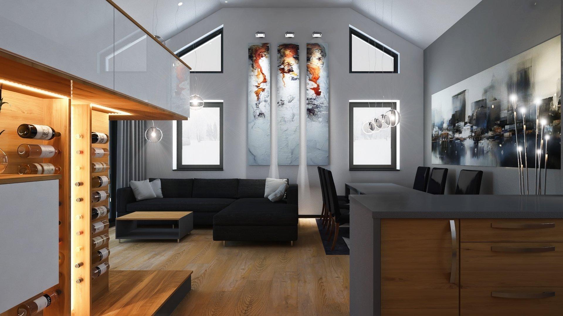 Obývací prostor s otevřeným štítem střechy..