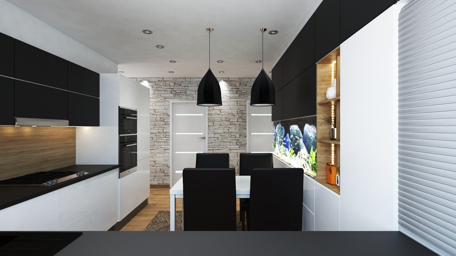 Moderní kuchyně s jídelnou a zabudovaným akváriem.