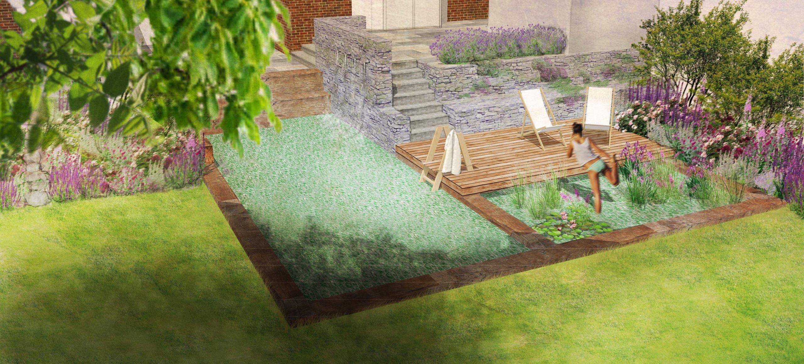 Vizualizace varianty 1 bio bazénu s koupací a regenerační zónou.