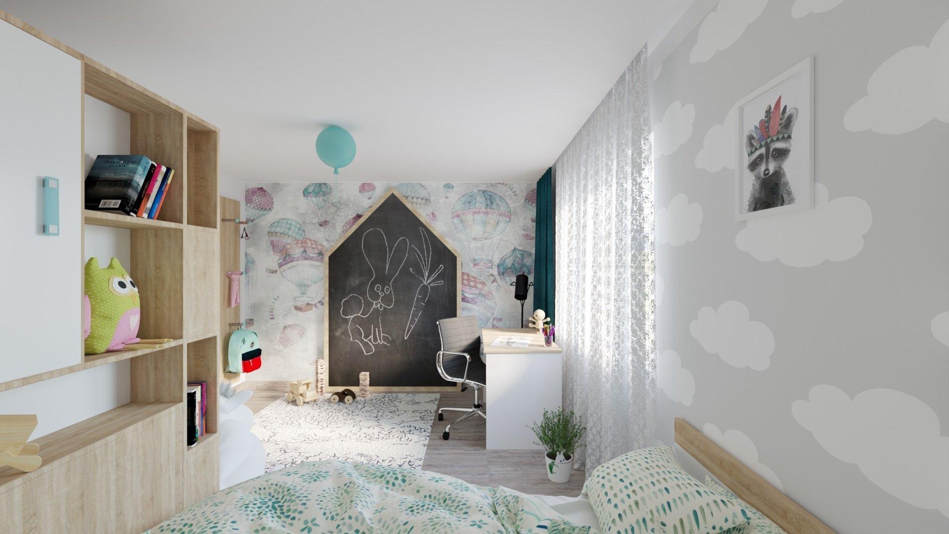 Výchozím prvkem tohoto pokoje je prostorná šatní skříň, kterou lze společně s postelí i psacím stolem pořídit v prodejnách Möbelix. Úkolem vizualizace tedy…