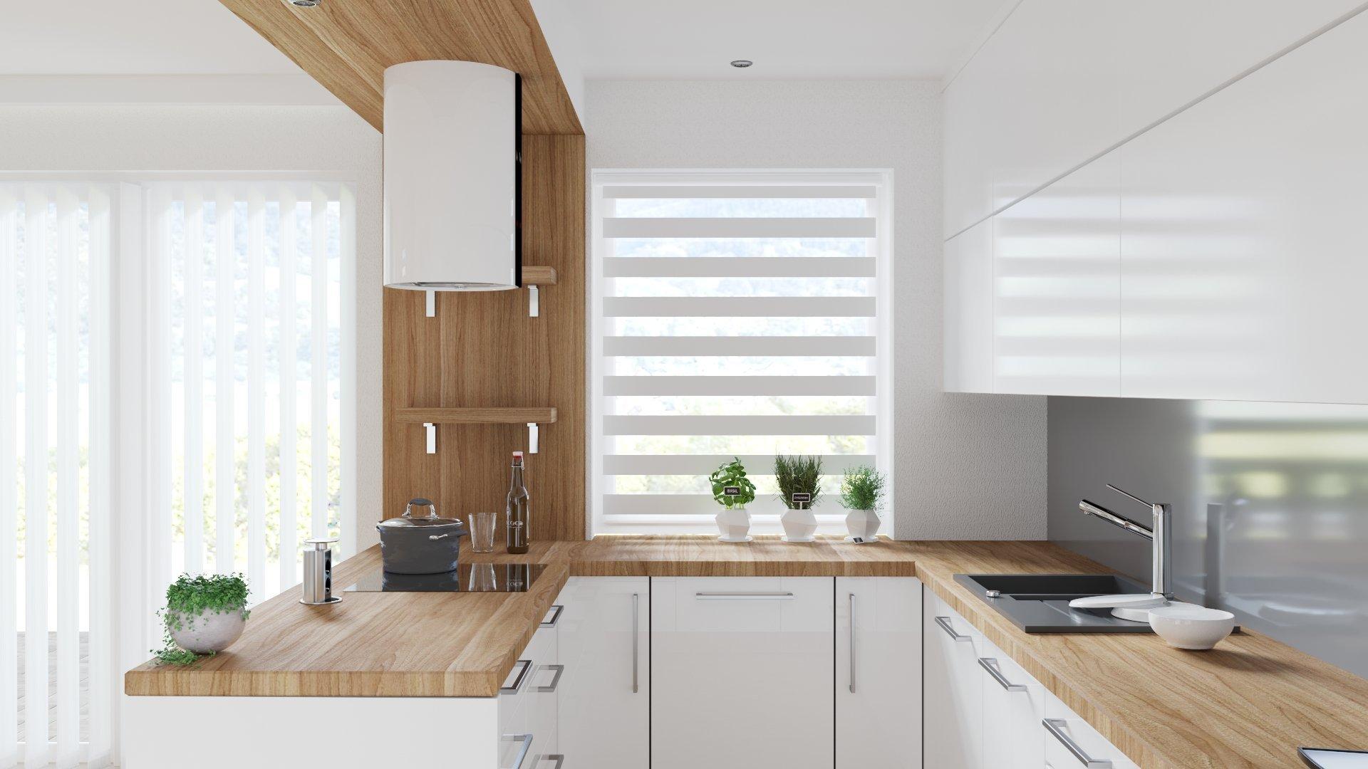 Jeden z několika návrhů obývacího pokoje spojeného s kuchyní v budoucí novostavbě rodinného domku. Požadavkem bylo použití obkladového kamene, dřeva a moderní…