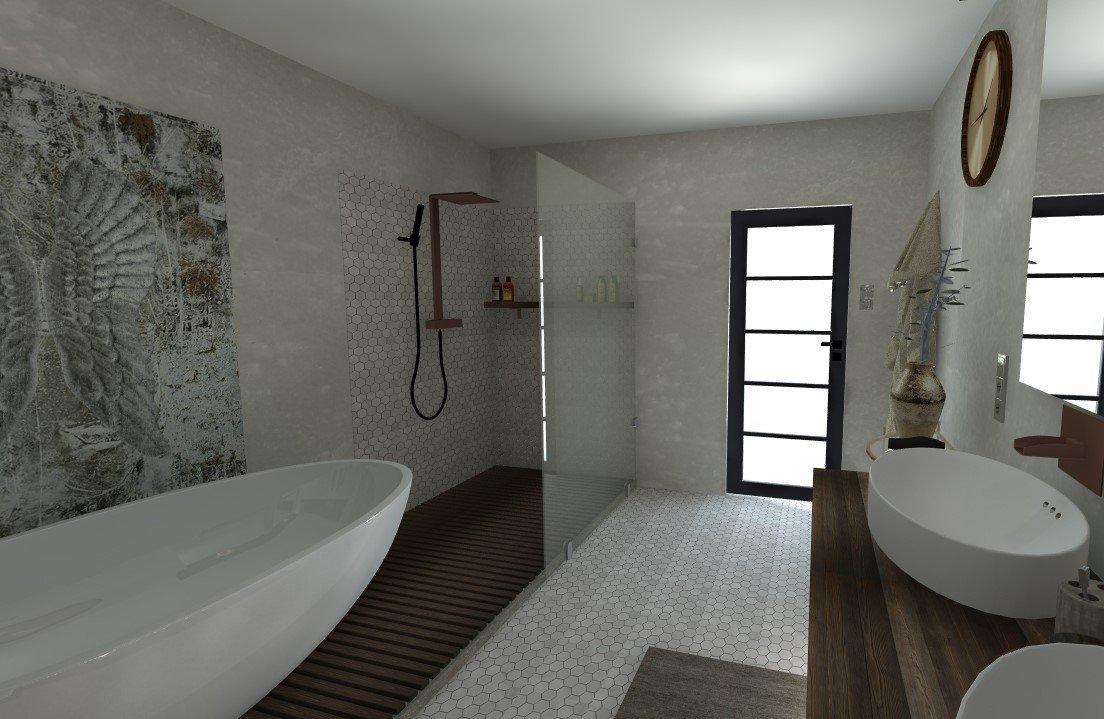 Koupelna v béžových a šedých tónech doplněná elagancí tmavého dřeva.