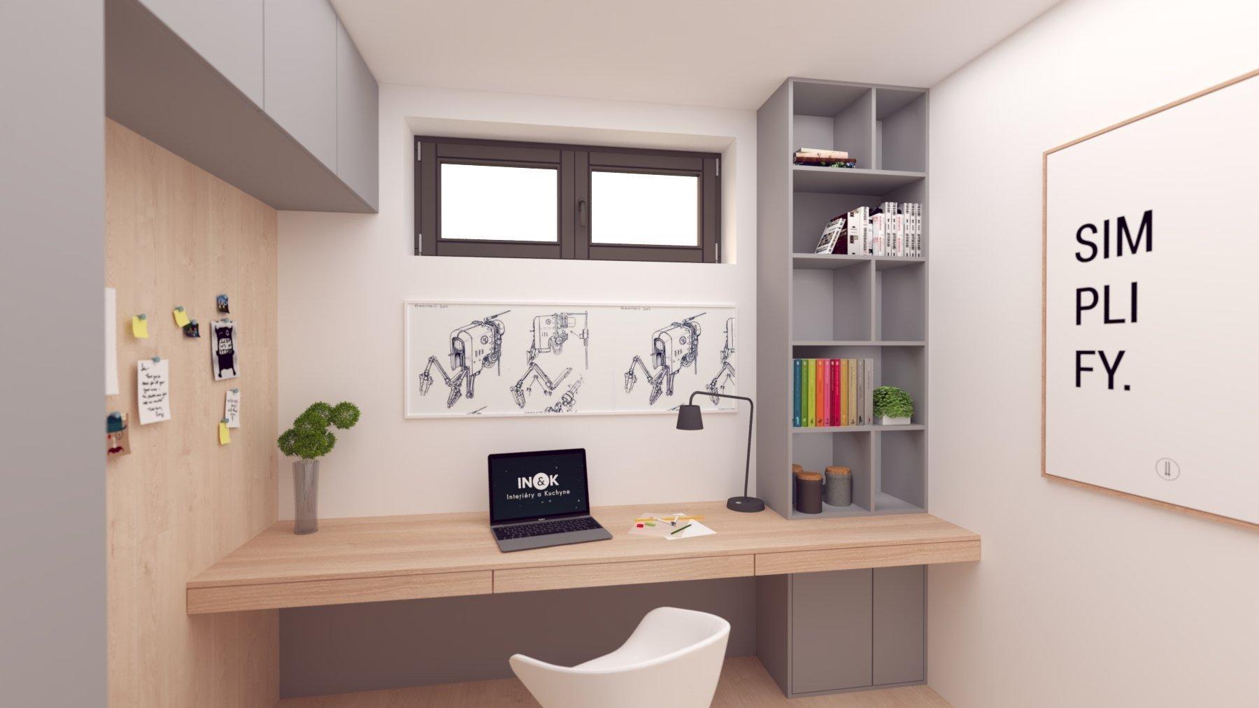 Návrh interiéru, v ktorom sme sa snažili hravým spôsobom zachytiť záujmy a potreby budúcich obyvateľov :-)