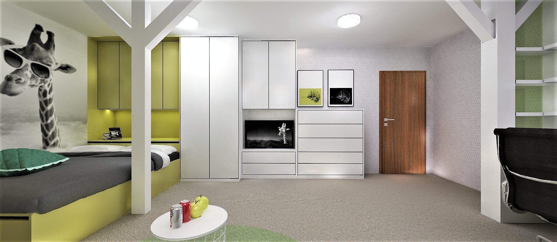 Podkrovní pokoj je přizpůsoben nárokům teenagera na pohodlí - široká postel, pohovka a televize, inárokům na techniku - velké stoly pro PC, audio a hraní…