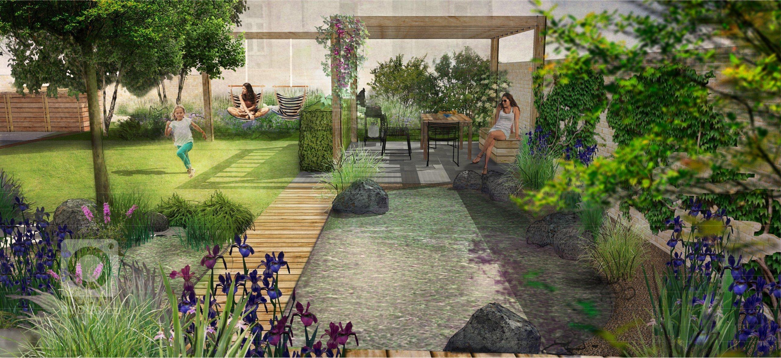 Zahrada má sloužit jako rozšířená místnost domu pod širou oblohou. I přes relativně malou plochu dvorku (14 x 17 m) se nám podařilo vnést do návrhu mnohá příjemná zákoutí.