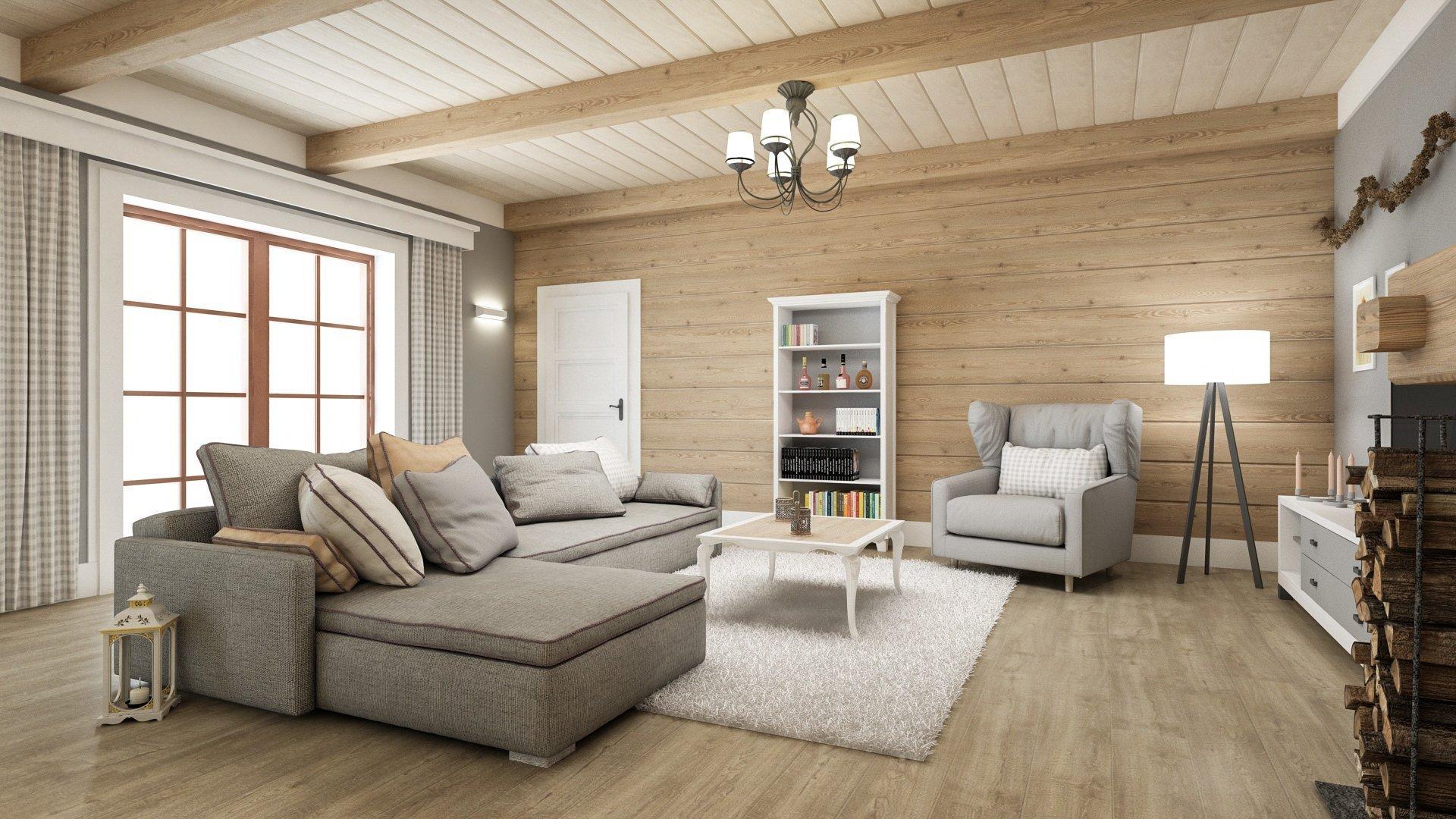 Jedná se o studii hlavního prostoru ve srubovém domě. Stylově se jedná o velice tradiční řešení s trámovým stropem, otevřeným krbem a dřevem i kamenem na…