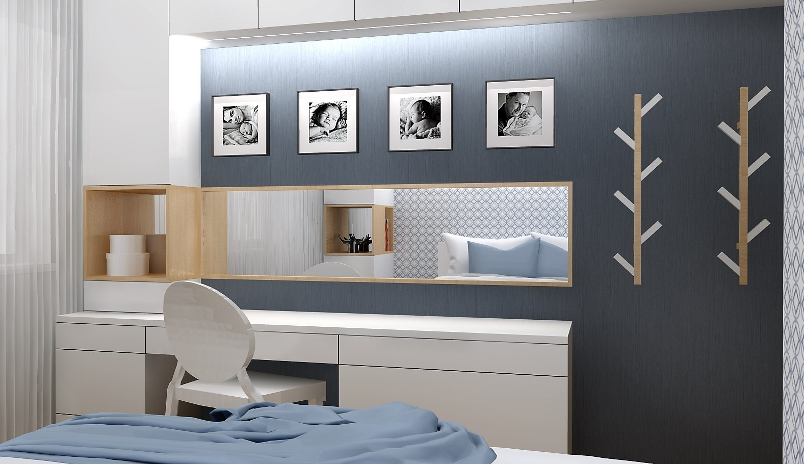 Odstíny modré v kombinaci s bílým laminem a světlým dřevodekorem vytváří příjemné prostředí pro odpočinek. V nejmenší místnosti bytu vznikl návrh plnohodnotné…
